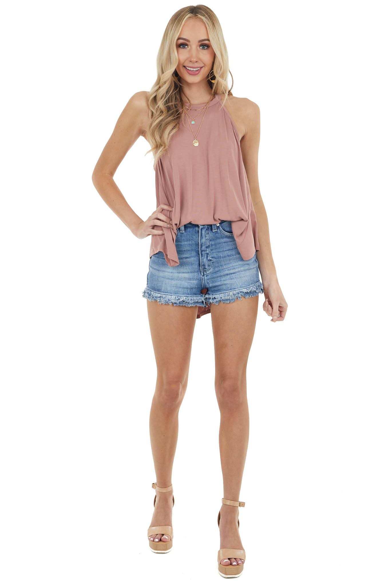 Dusty Rose Sleeveless Soft Knit Top with Halter Neckline