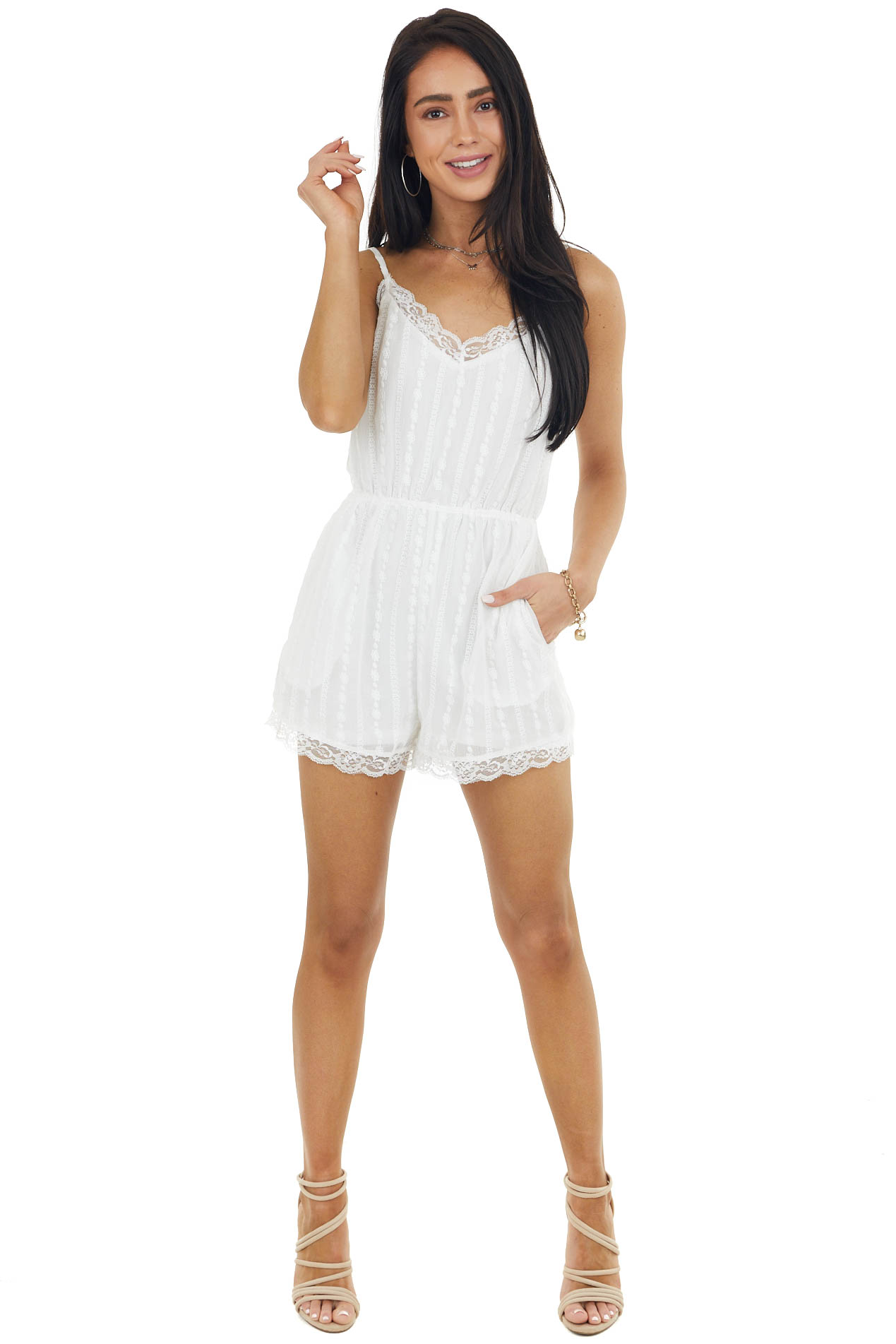 Off White Sleeveless Open Back Romper with Lace Details