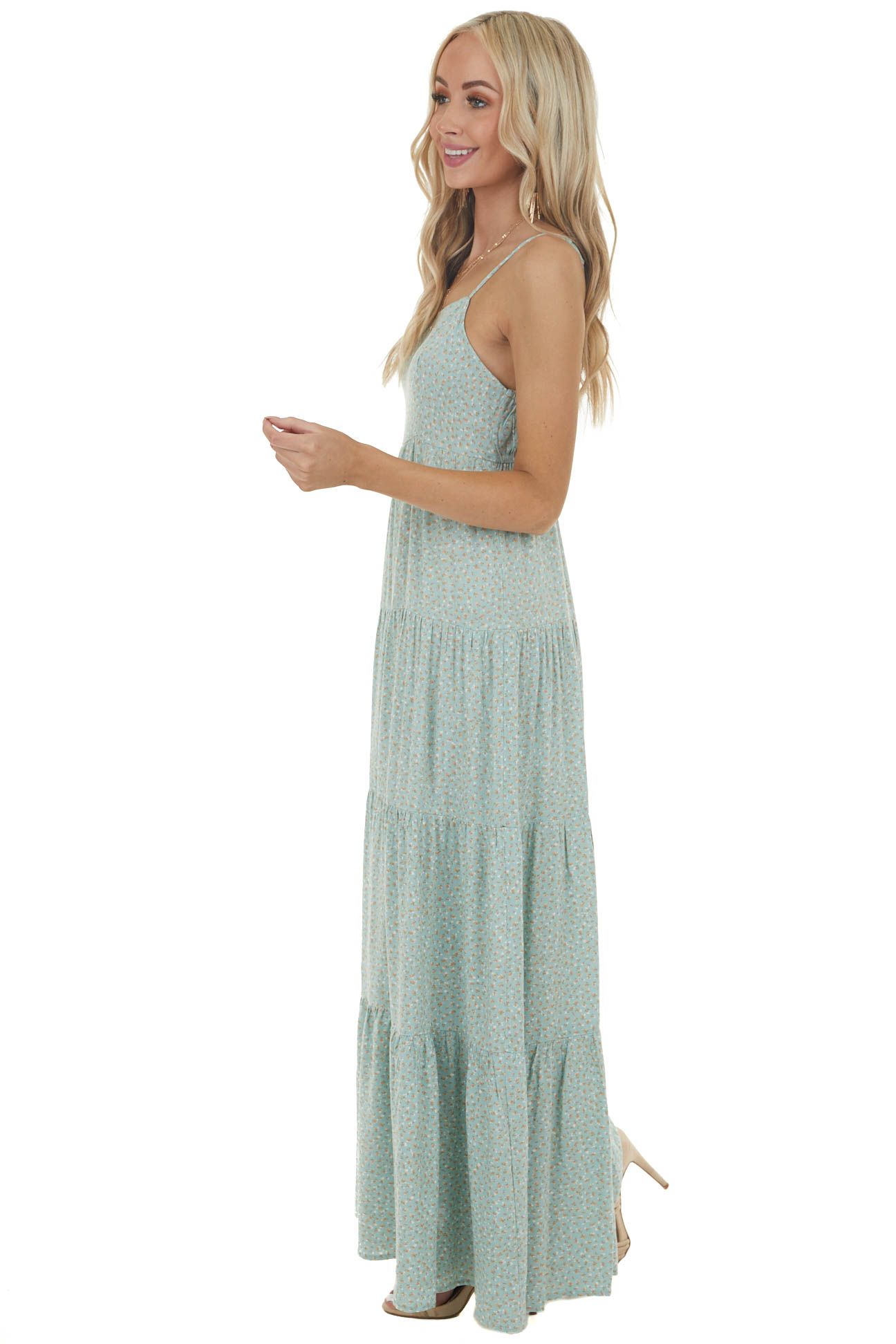 Sage Ditsy Floral Tiered Sleeveless Square Neck Maxi Dress