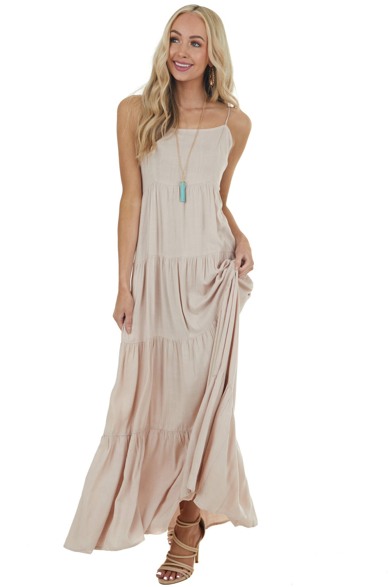 Latte Solid Tiered Sleeveless Square Neck Maxi Dress