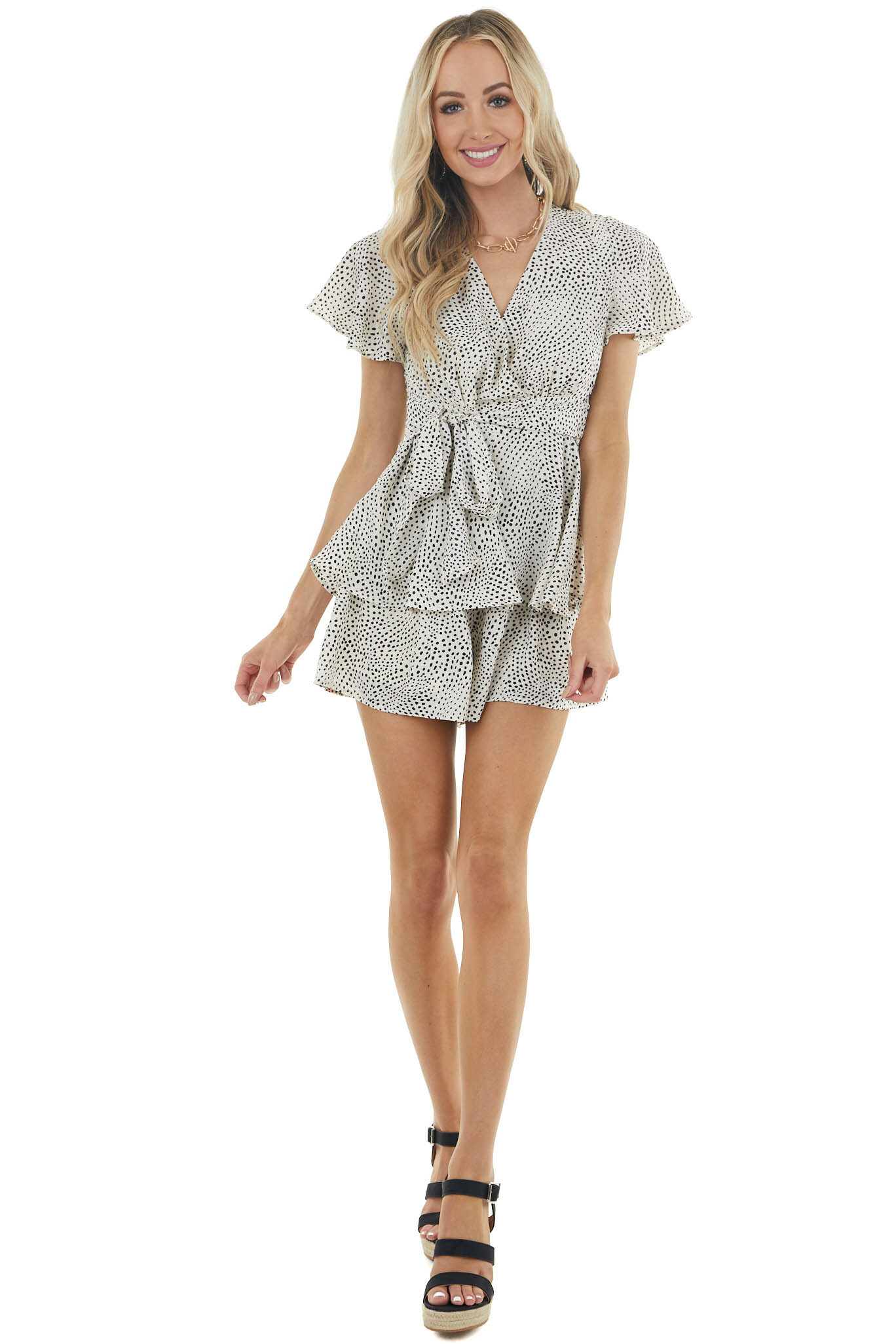 Cream Spotted Short Sleeved Surplice Tiered Romper