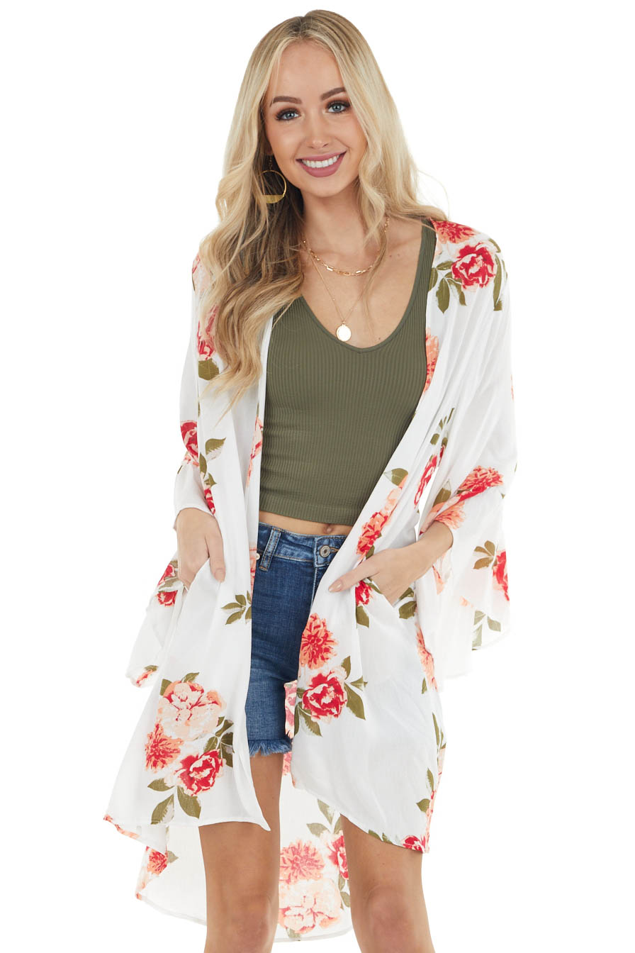 Ivory and Rose Floral Print Kimono with Flare Sleeves