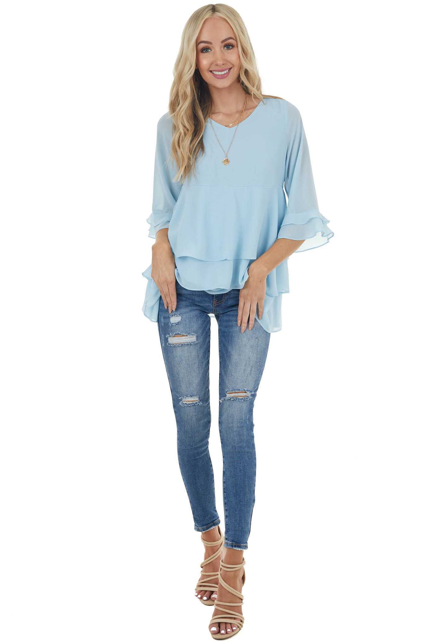 Baby Blue Babydoll Woven Top with Tiered Ruffled Detail