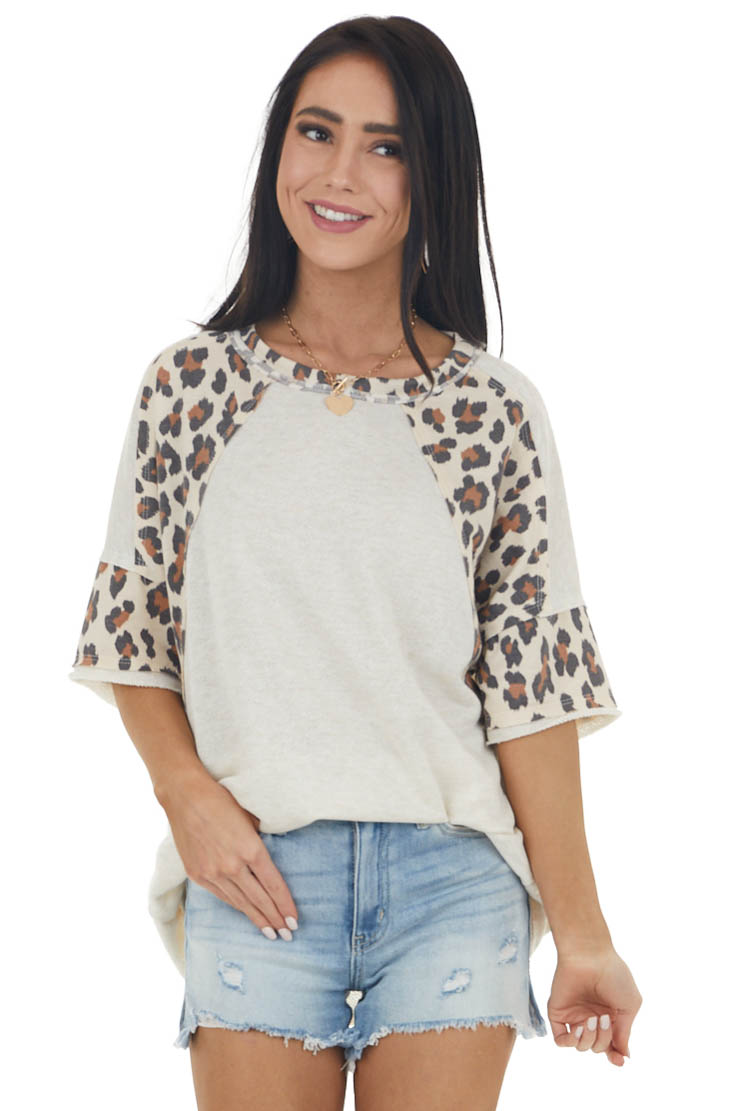 Vanilla French Terry Short Sleeve Top with Leopard Contrast