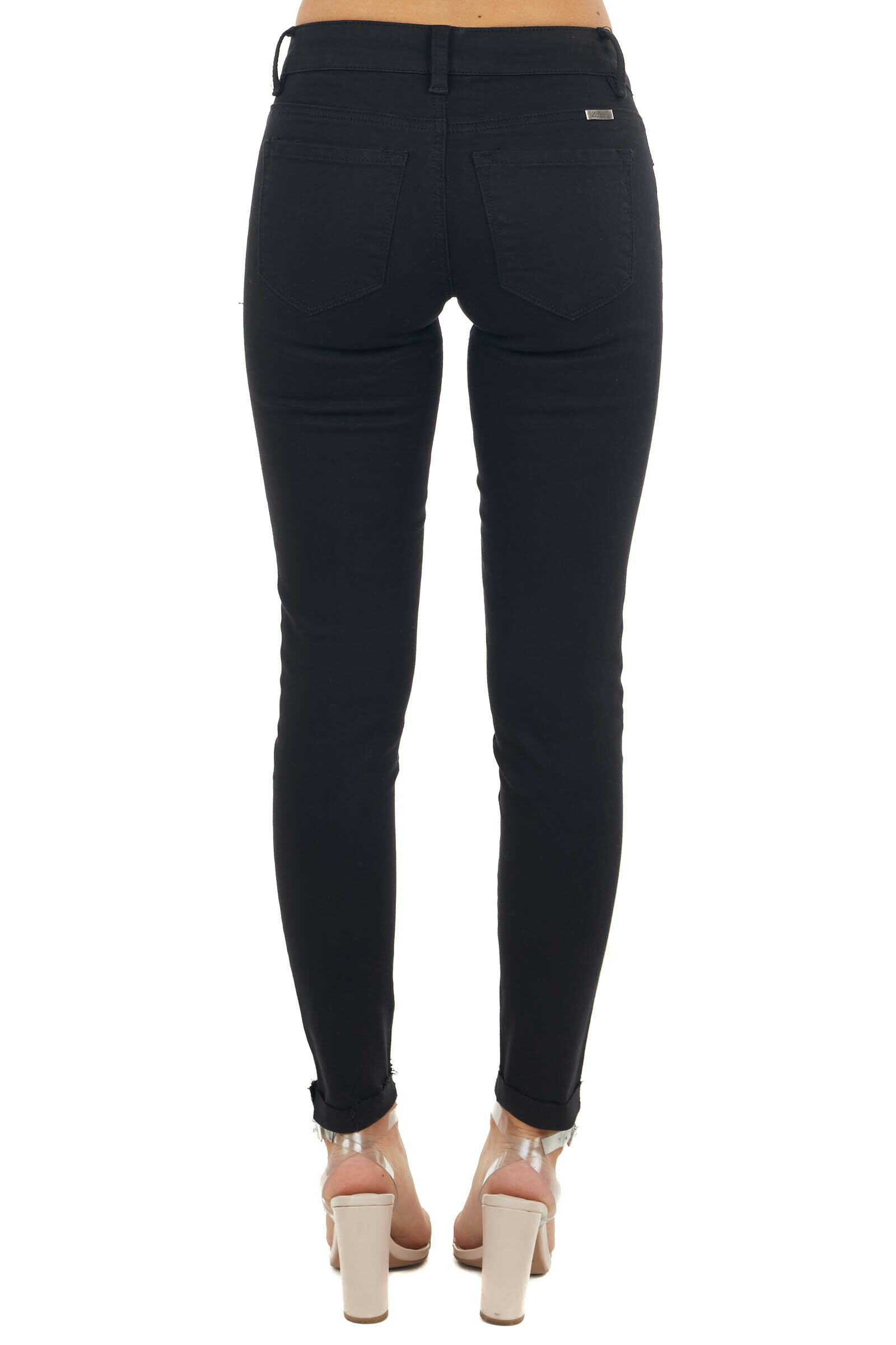 Black Mid Rise Distressed Jeans with Raw Folded Cuff
