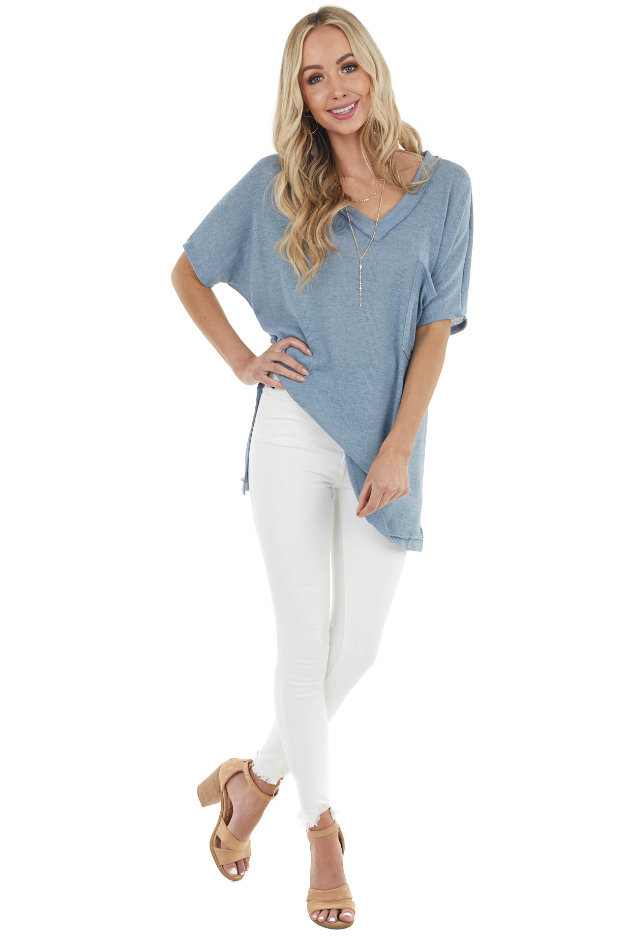 Dusty Blue Loose Fit Short Sleeve Knit Top with Front Pocket