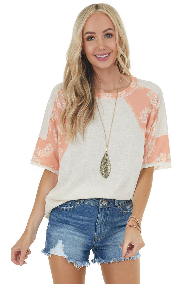 Vanilla French Terry Top with Melon Paisley Contrasting