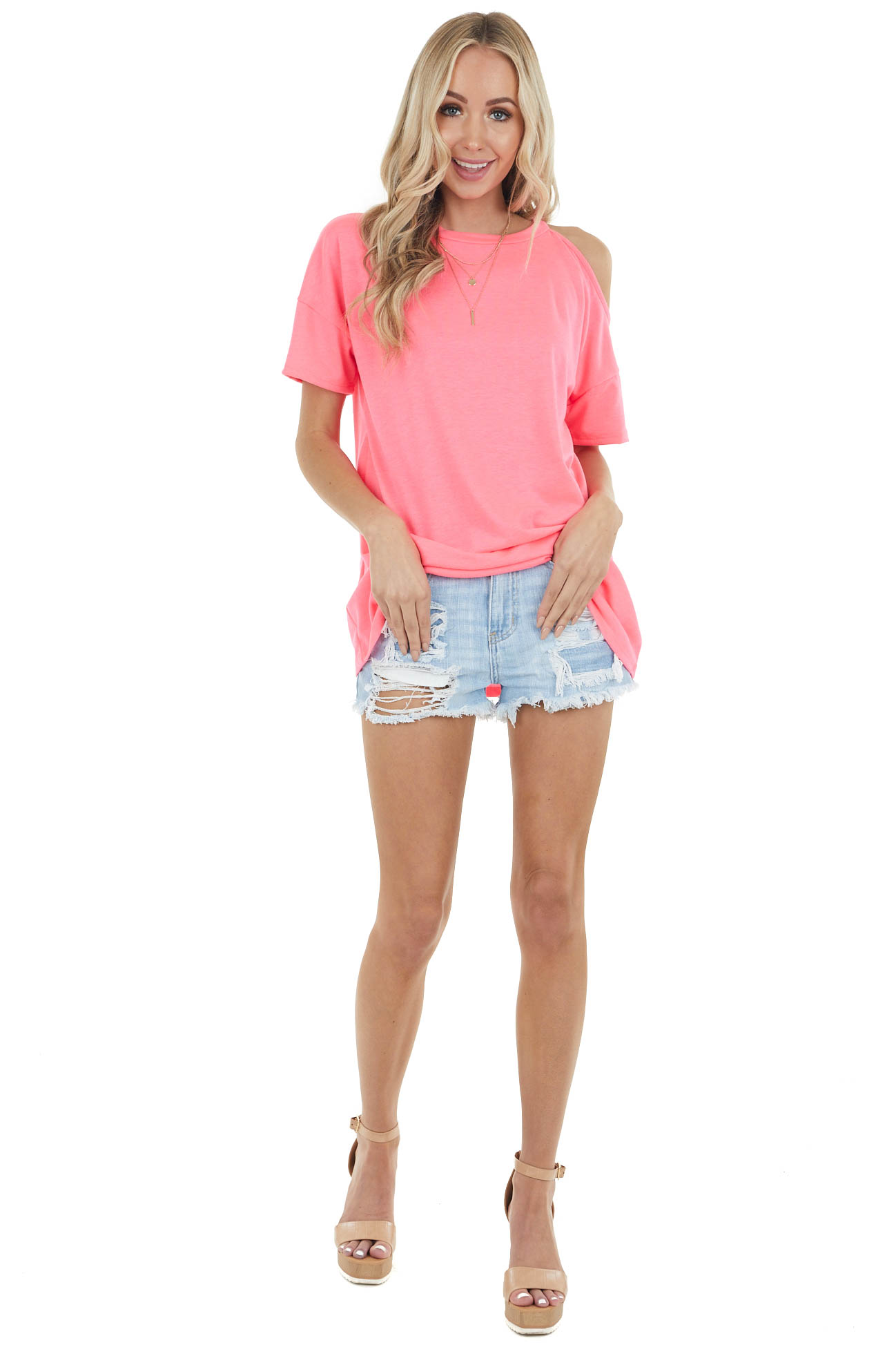 Neon Pink Short Sleeve Cold Shoulder Stretchy Knit Top