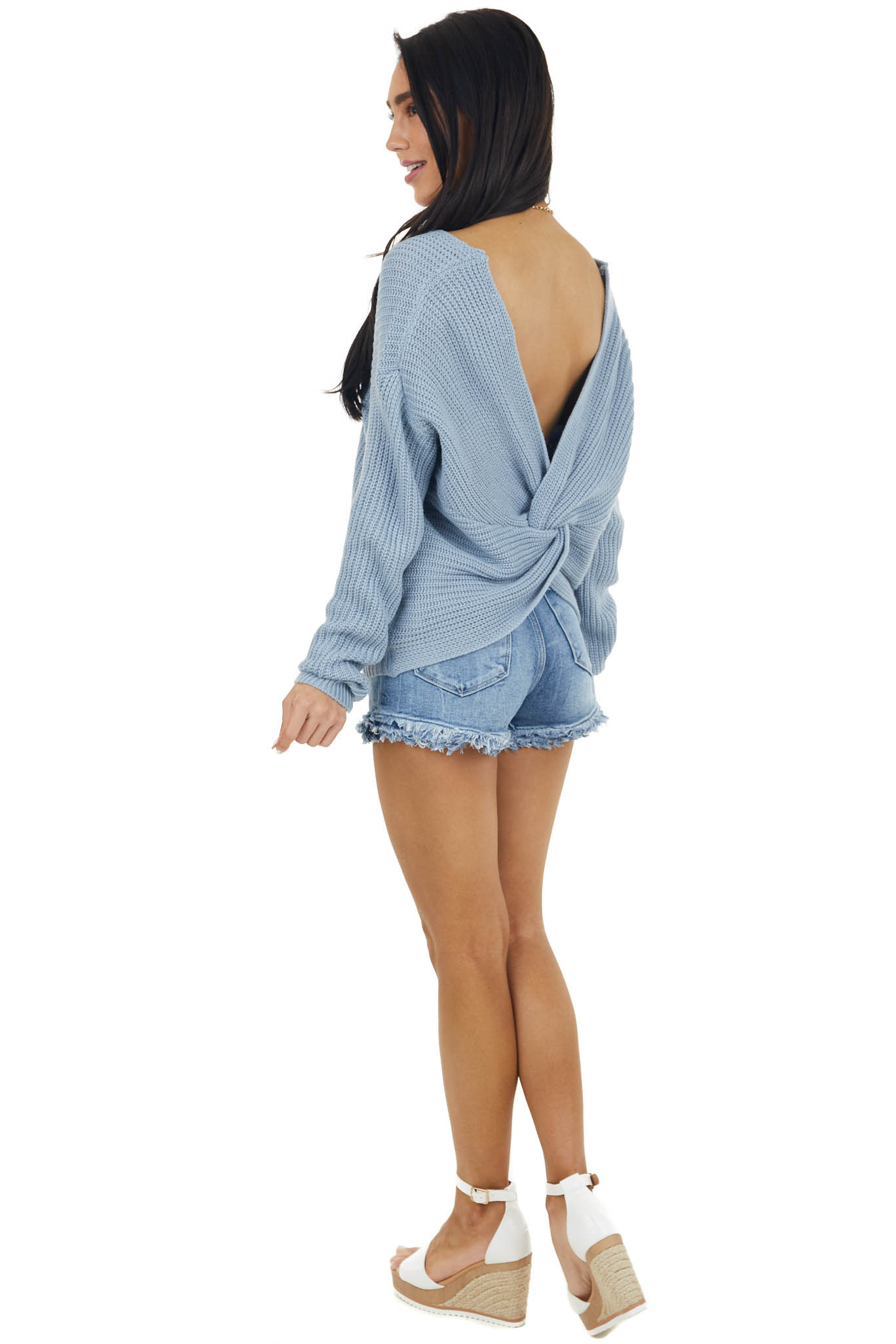 Powder Blue Long Sleeve Knit Sweater with Back Twist Detail