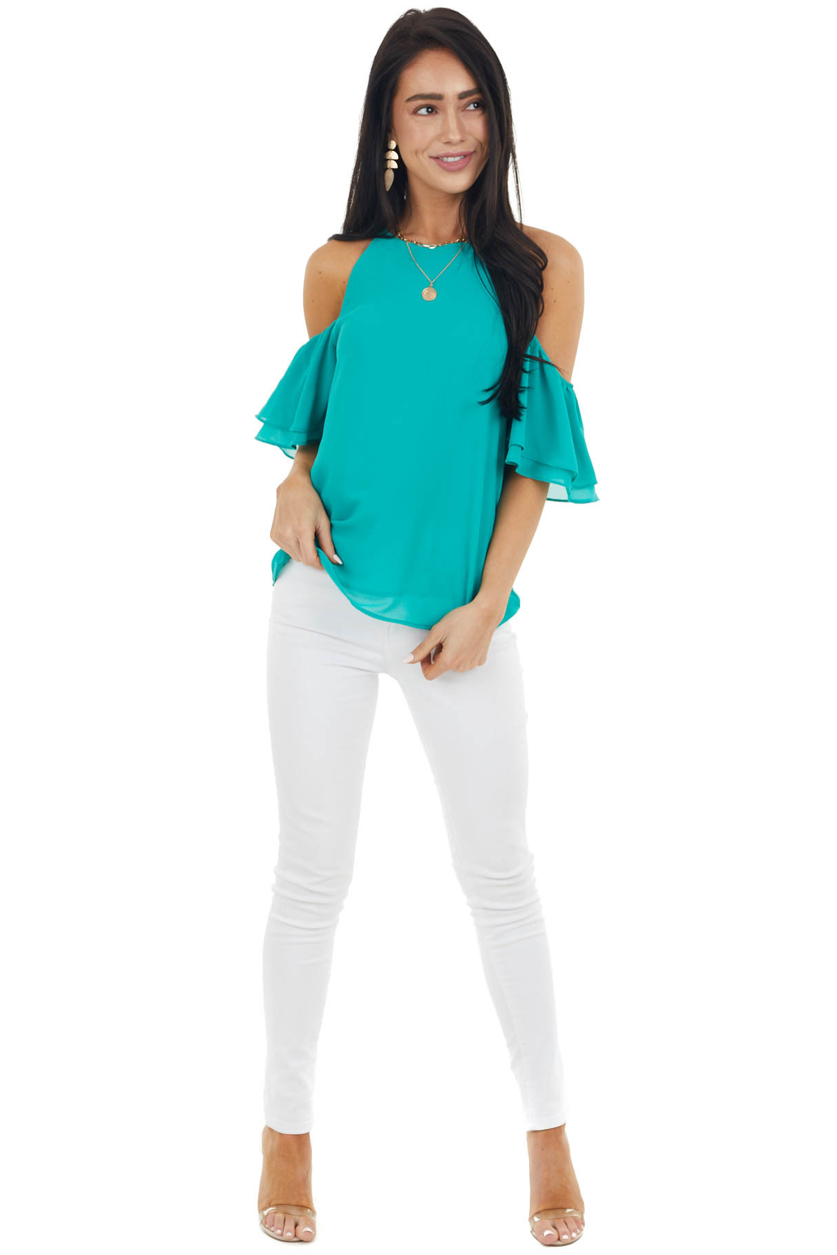 Jungle Green Cold Shoulder Woven Blouse with Ruffle Sleeves