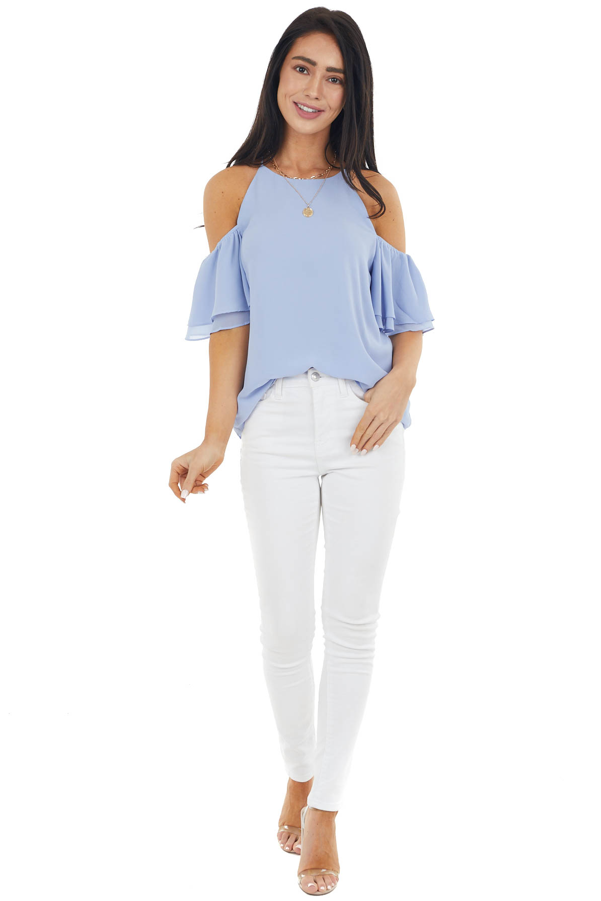 Dusty Blue Cold Shoulder Woven Blouse with Ruffle Sleeves
