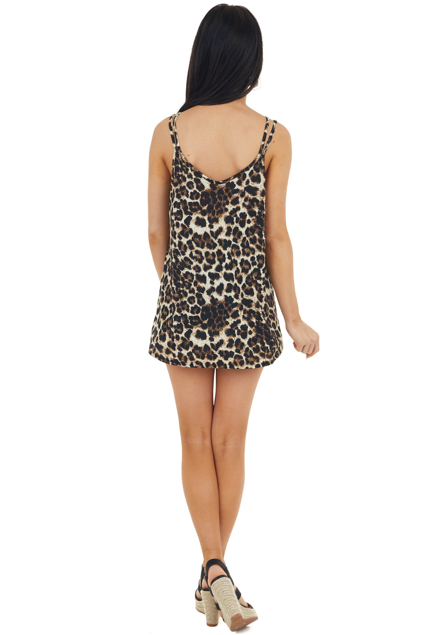 Black Leopard Print Sleeveless Knit Top with Strappy Detail