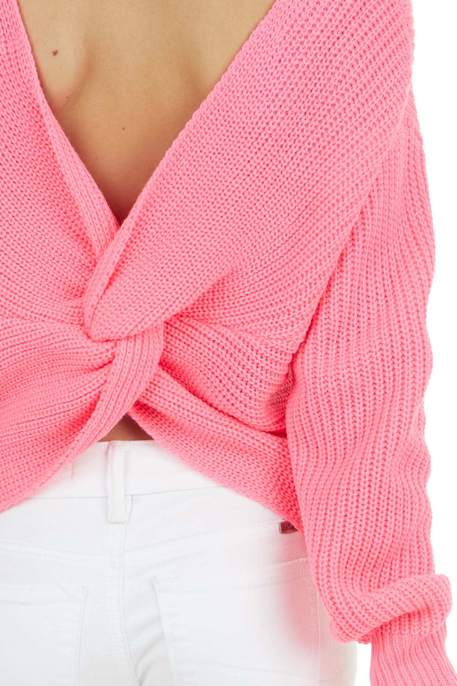Hot Pink Long Sleeve Knit Sweater with Back Twist Detail