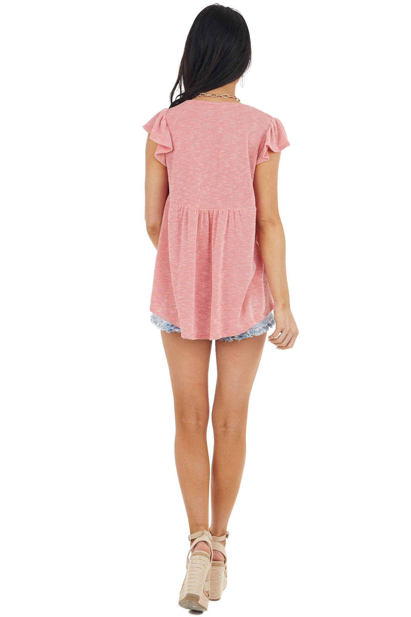 Coral and Ivory Two Tone Ribbed Short Flutter Sleeve Top