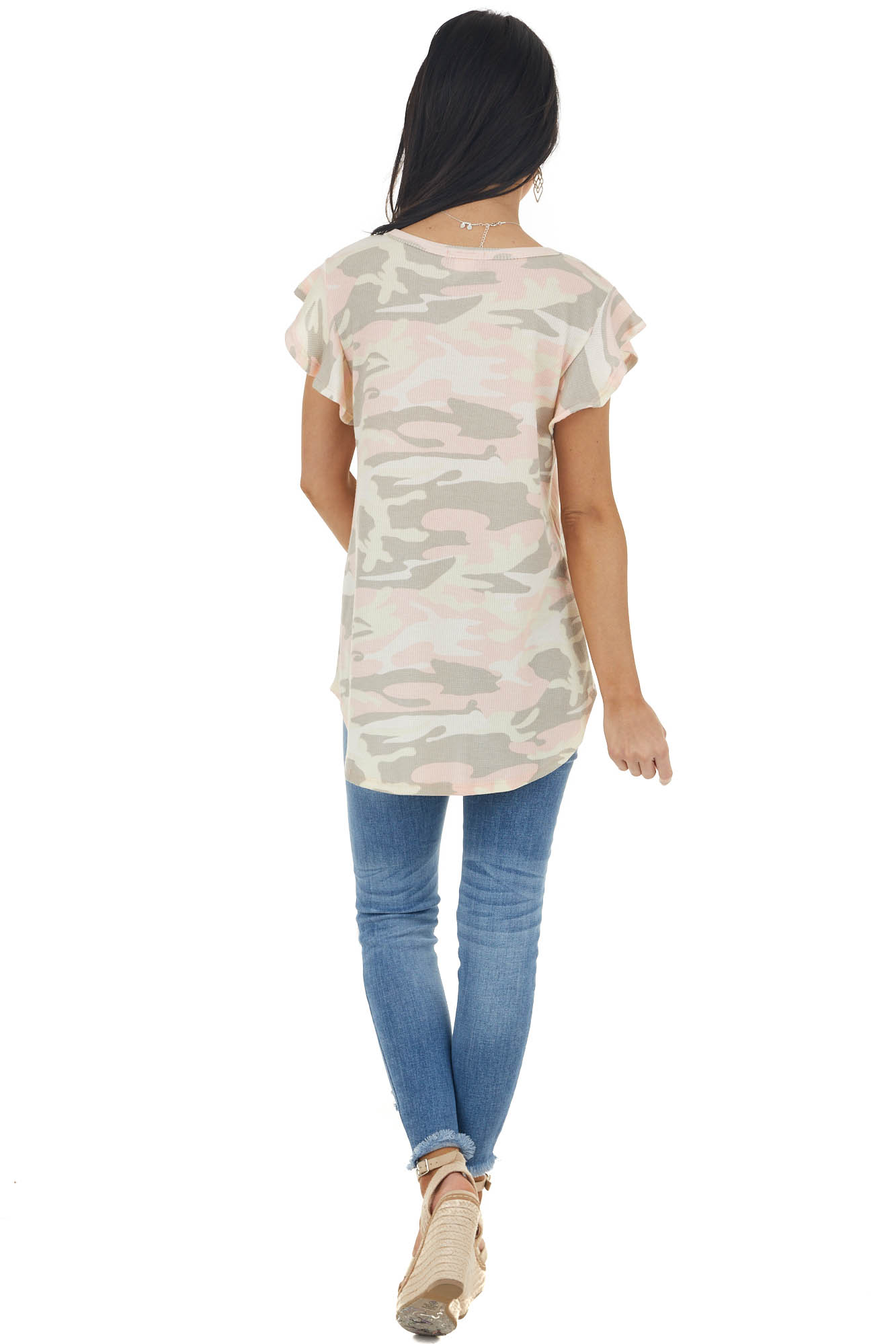 Dusty Blush Camo Print Short Ruffled Sleeve Thermal Top