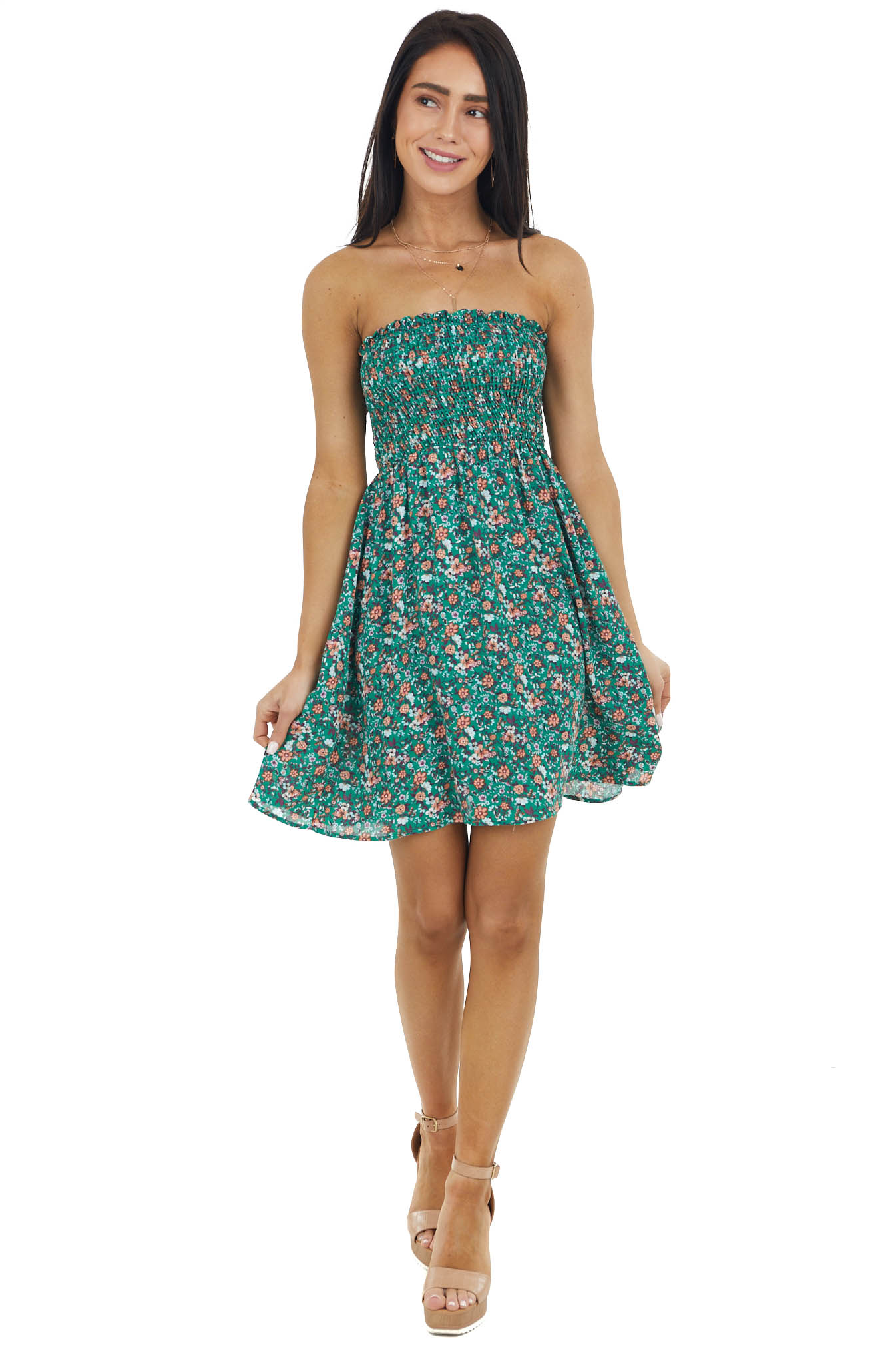 Pine Ditsy Floral Strapless Mini Dress with Smocked Bust