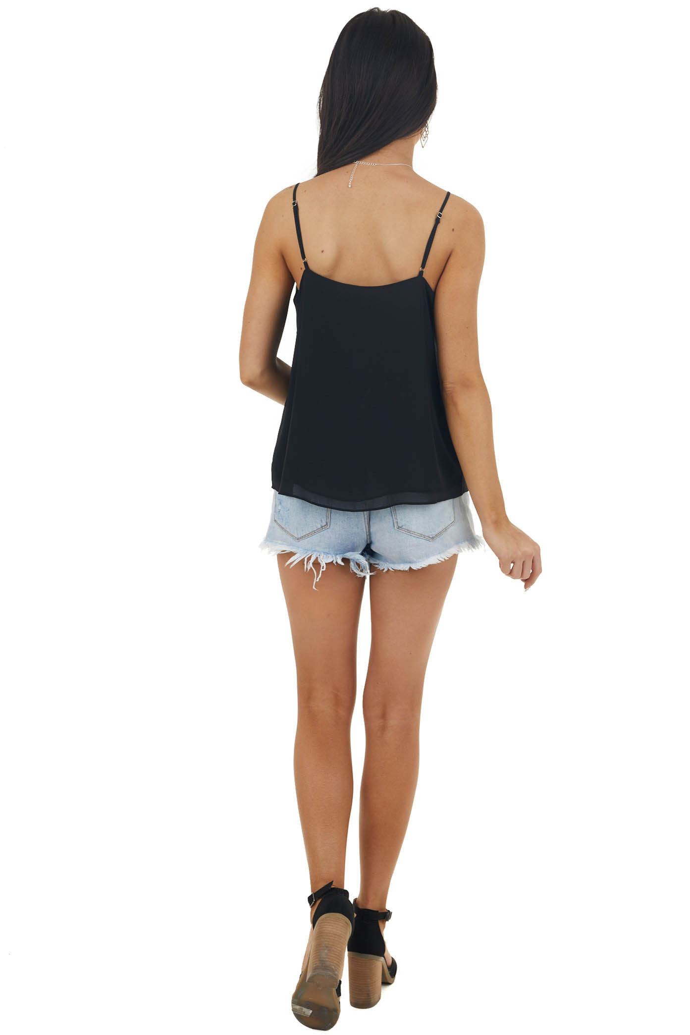 Black Sleeveless Woven V Neck Camisole with Ruffle Detail