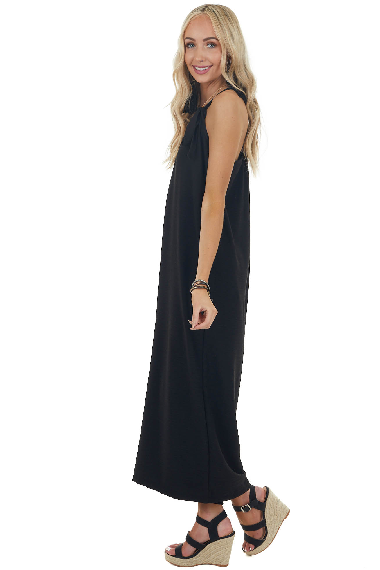 Black Wide Legged Sleeveless Jumpsuit with Front Tie