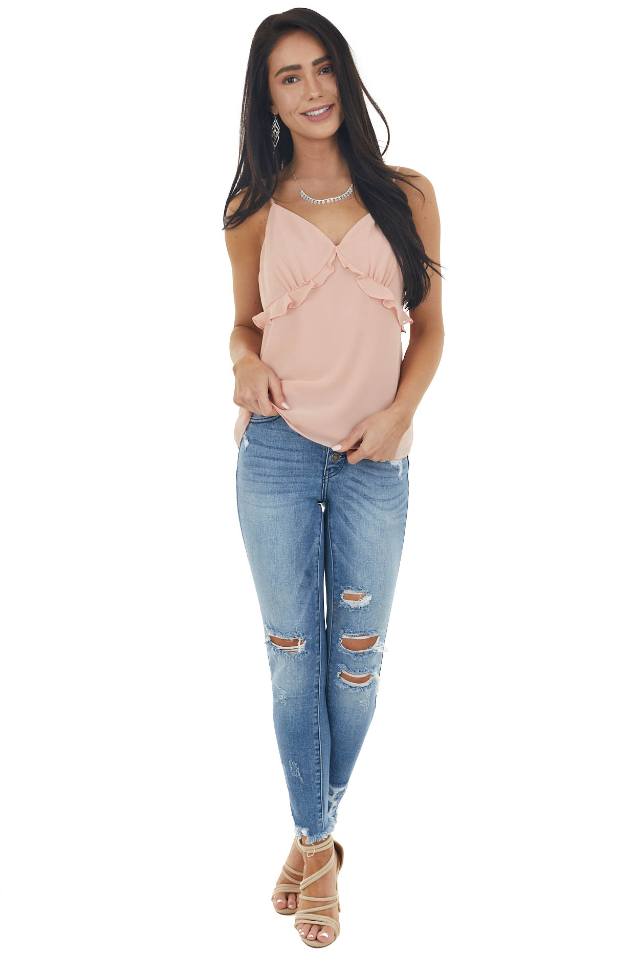 Peach Sleeveless Woven V Neck Camisole with Ruffle Detail