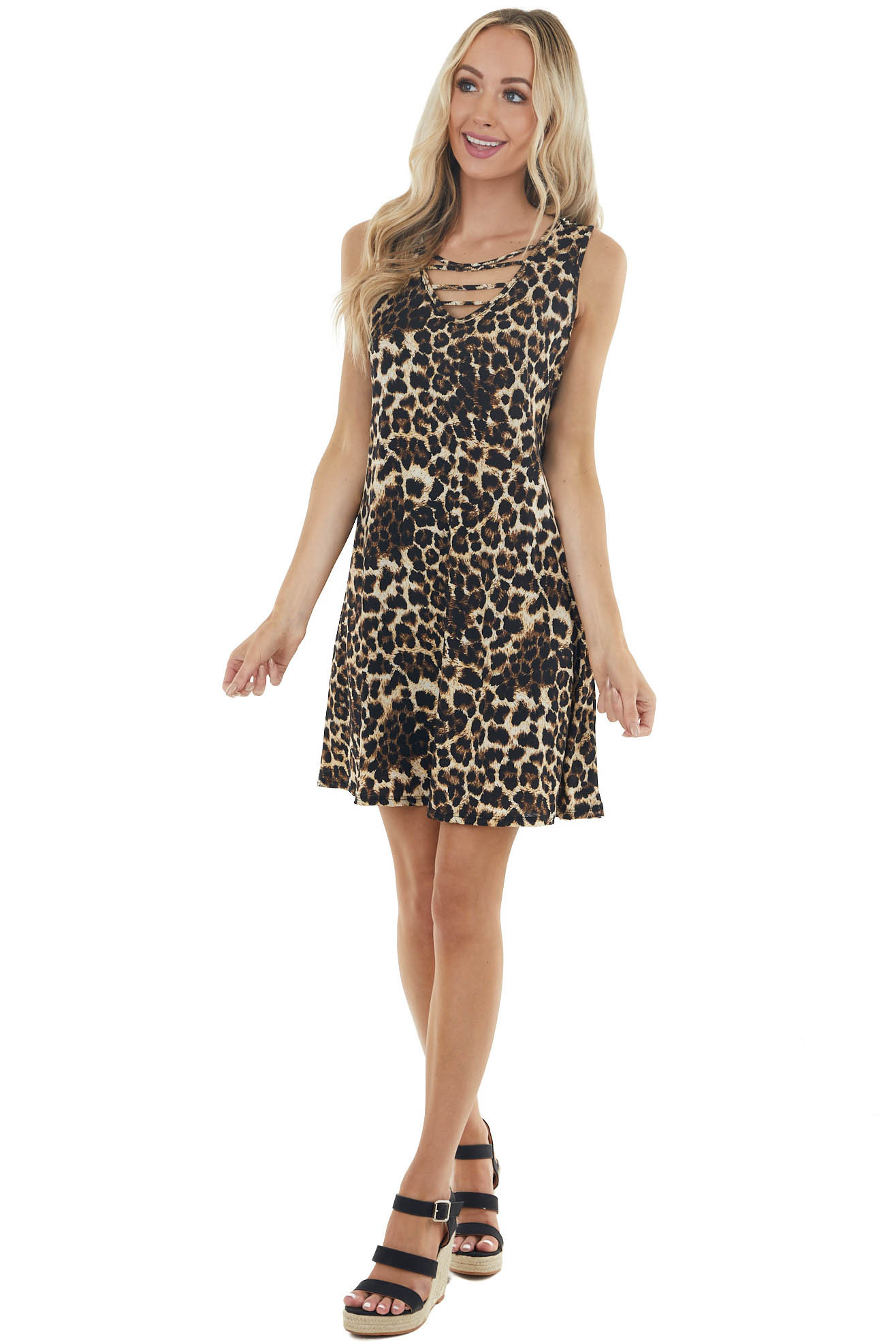 Cream Leopard Print Sleeveless Short Dress with Caged Chest