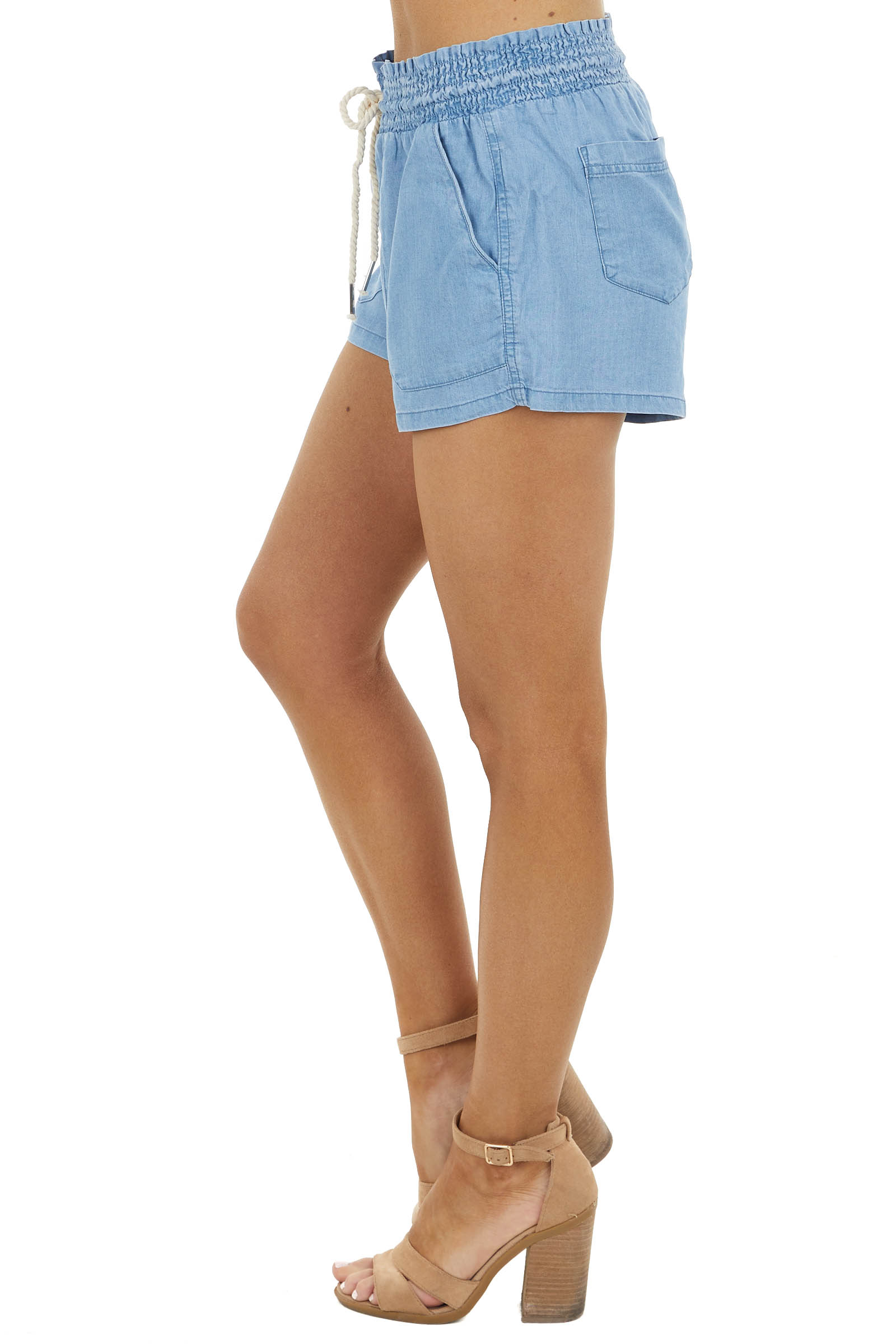 Light Wash Chambray Shorts with Smocked Waist and Tie Detail