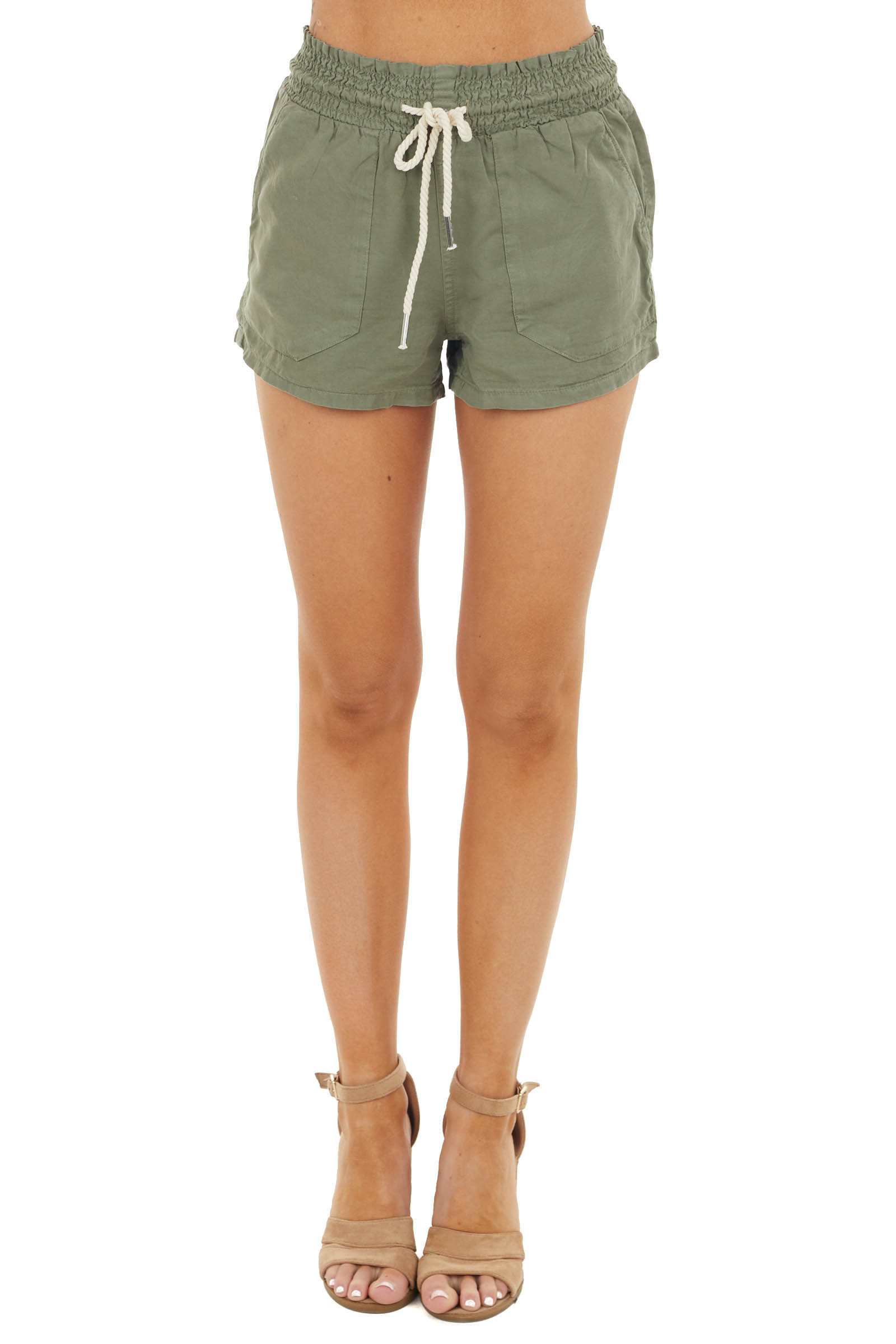 Olive Chambray Shorts with Smocked Waist and Tie Detail