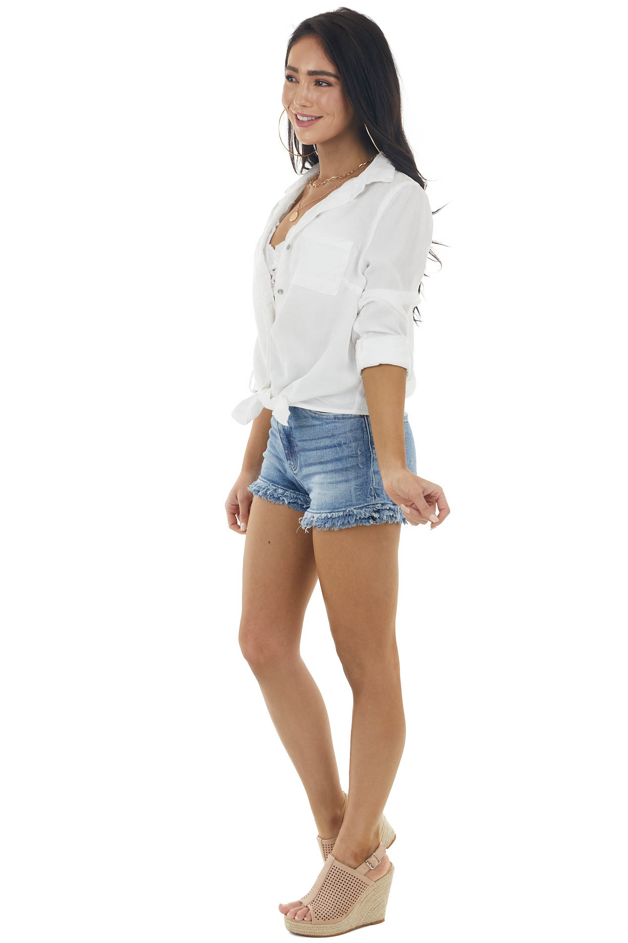 White Button Up Long Sleeve Top with Front Tie Detail