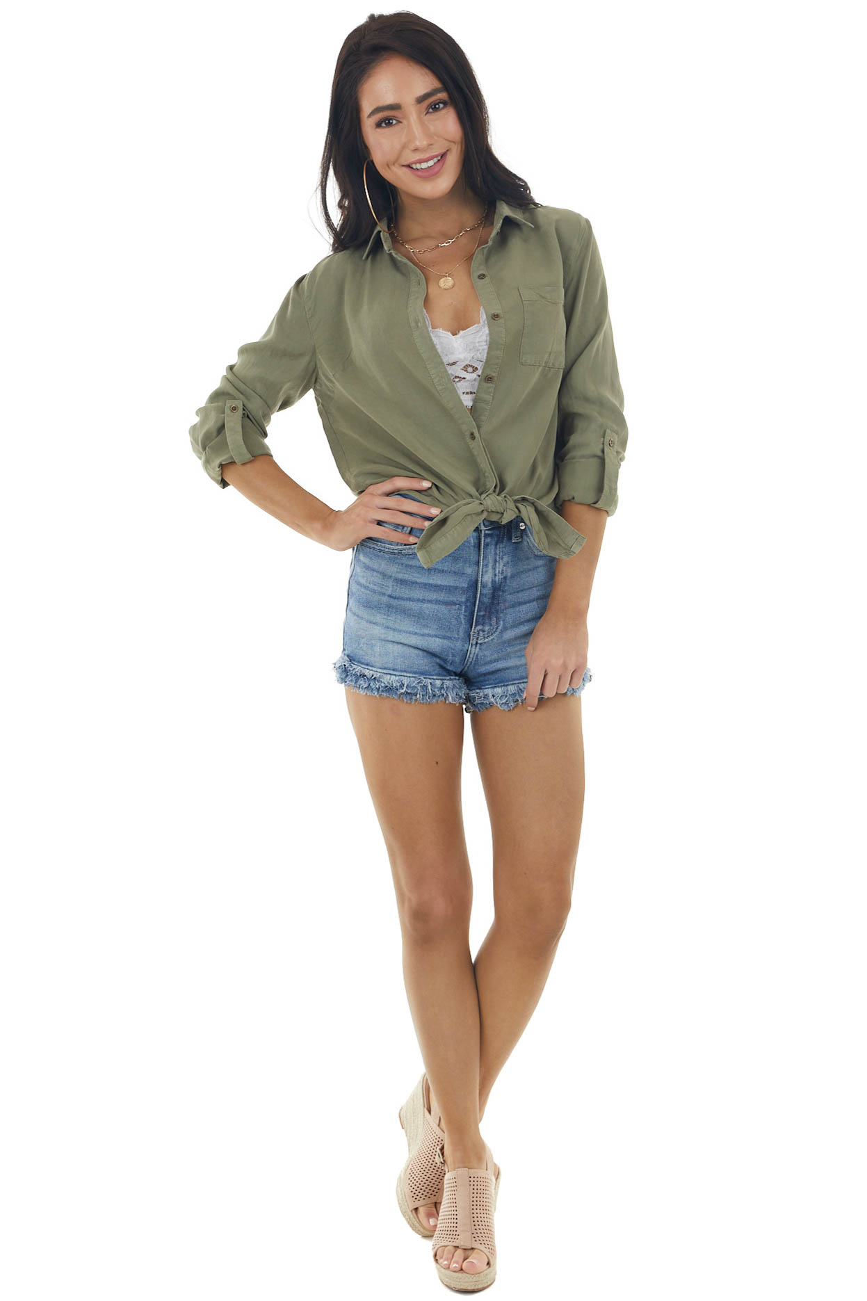 Olive Button Up Long Sleeve Top with Front Tie Detail
