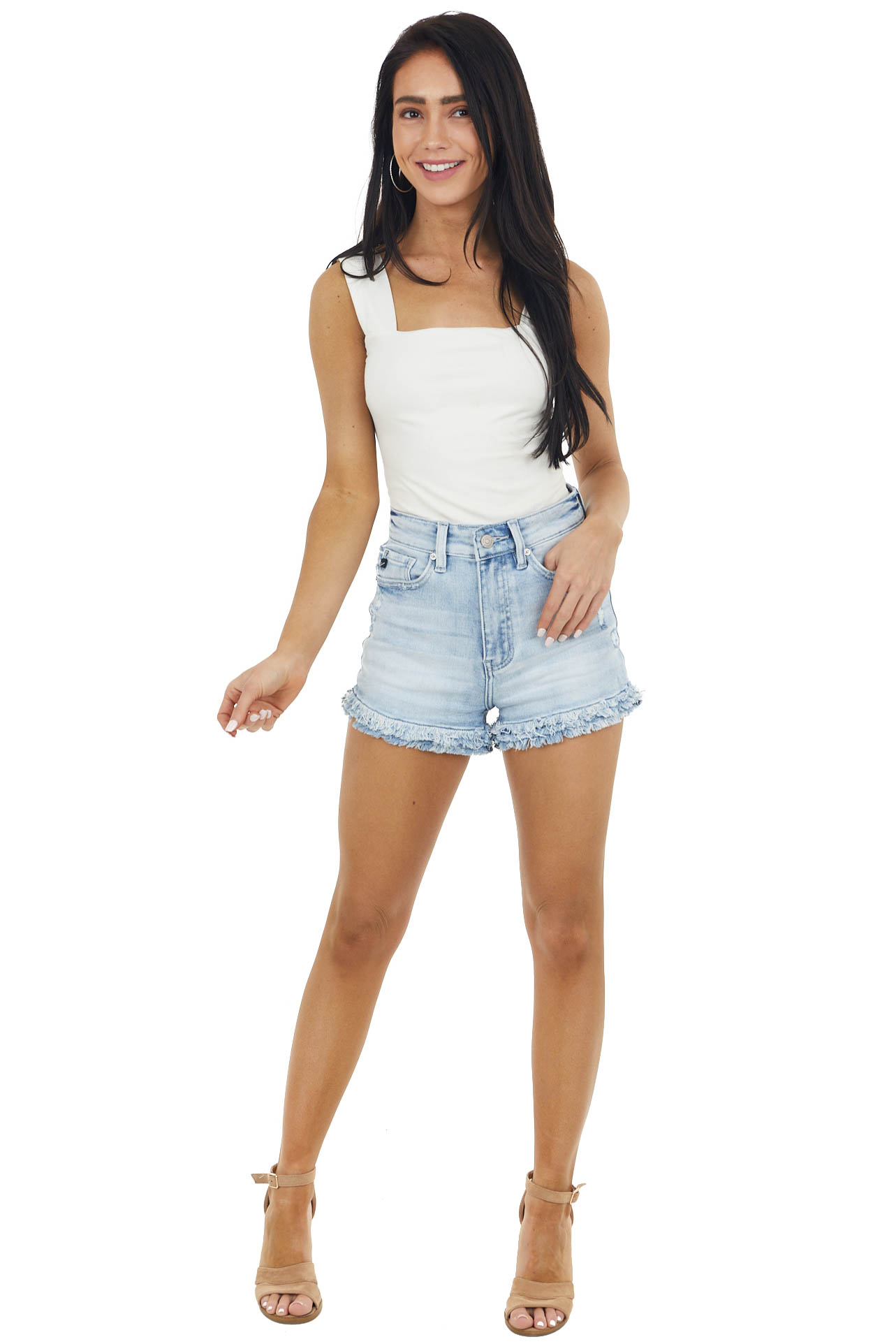 Light Wash High Rise Distressed Denim Shorts with Frayed Hem