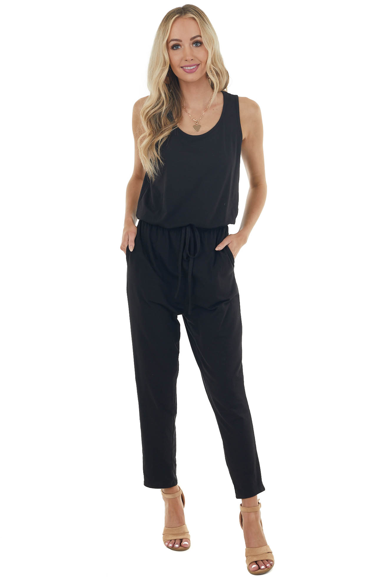 Black Sleeveless Knit Jumpsuit with Keyhole Back Detail