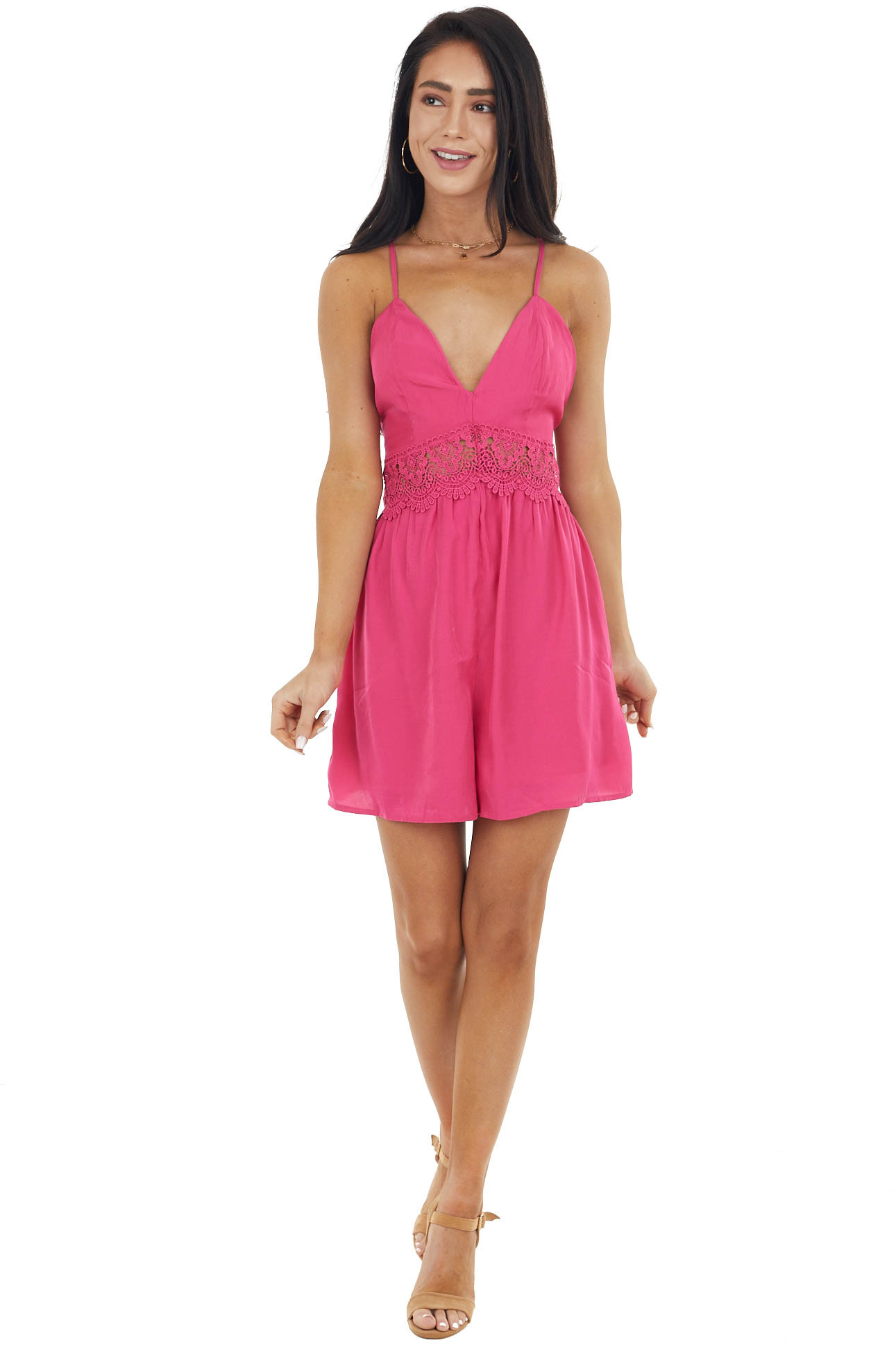 Hot Pink Sleeveless Romper with Lace Peekaboo Waist Detail