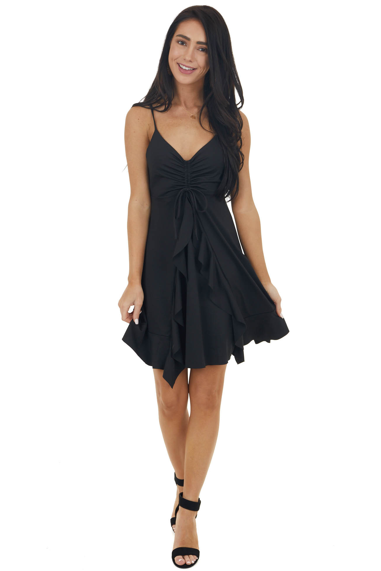 Black Scrunched Bust Mini Dress with Cascading Ruffle Detail