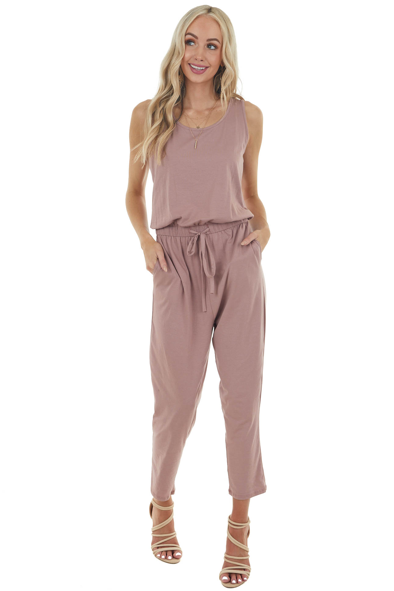 Dusty Rose Sleeveless Knit Jumpsuit with Keyhole Back Detail