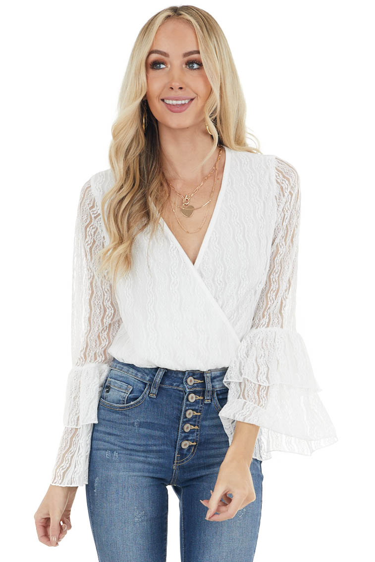 Off White Lace Surplice Long Tiered Sleeve Bodysuit