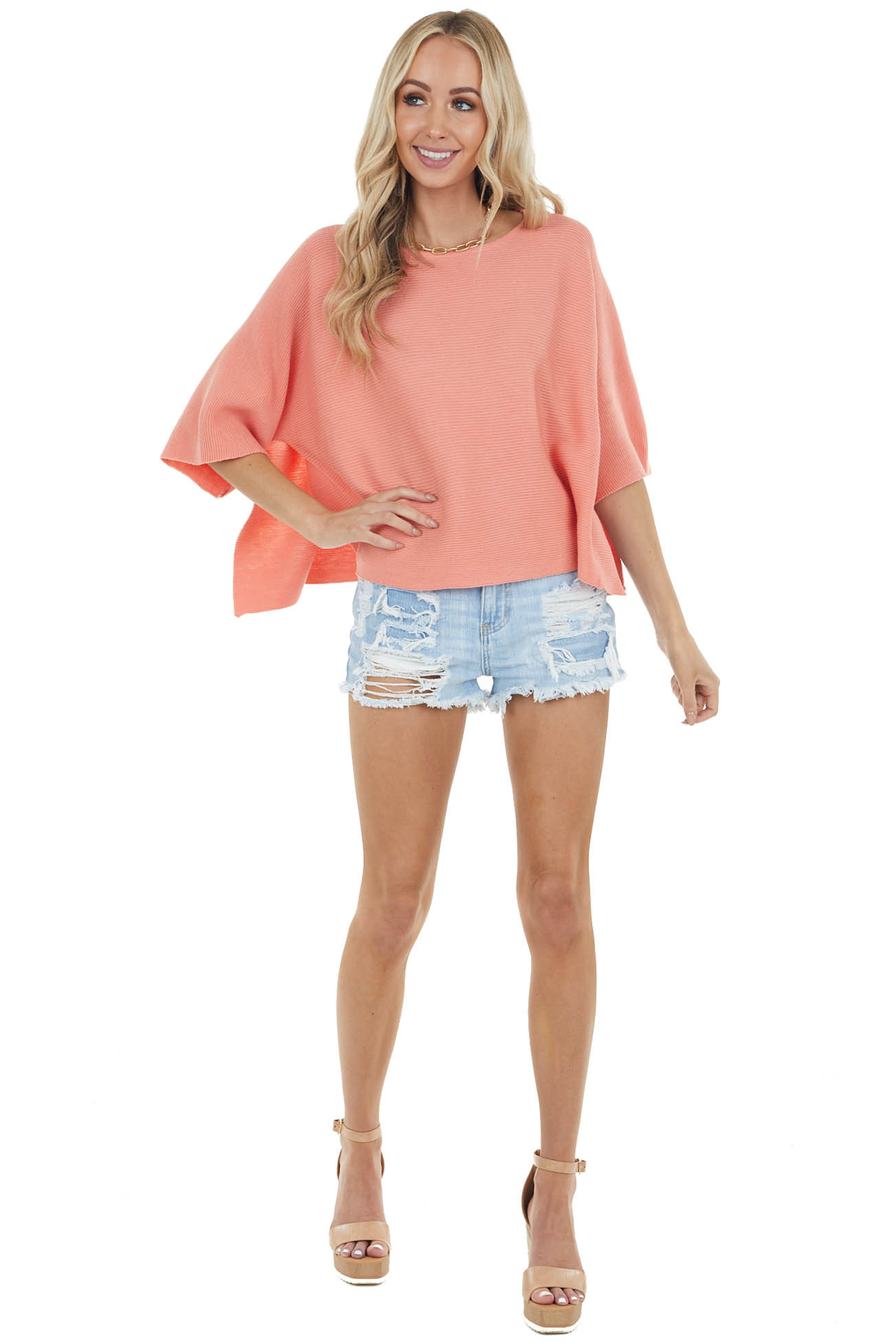 Coral Wide 3/4 Sleeve Stretchy Knit Top with Side Slits