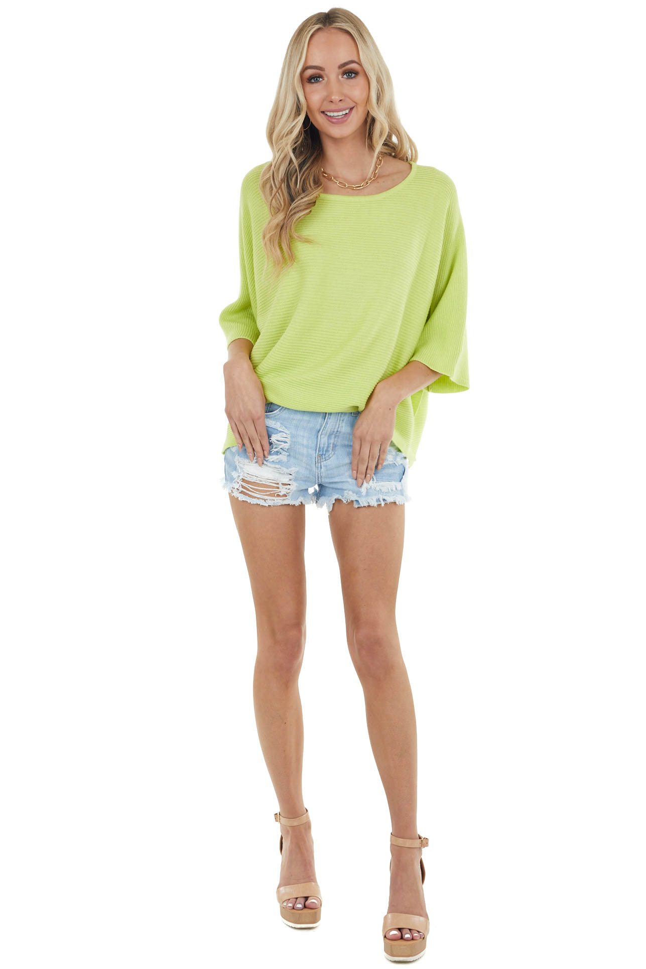 Lime Wide 3/4 Sleeve Stretchy Knit Top with Side Slits