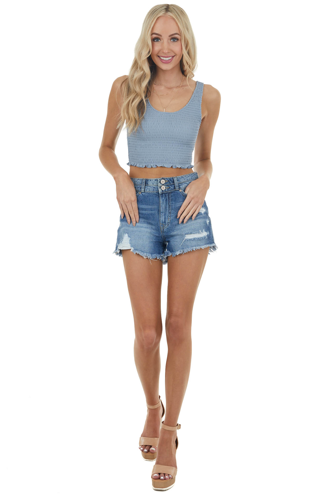Powder Blue Sleeveless Knit Top with Smocked Details