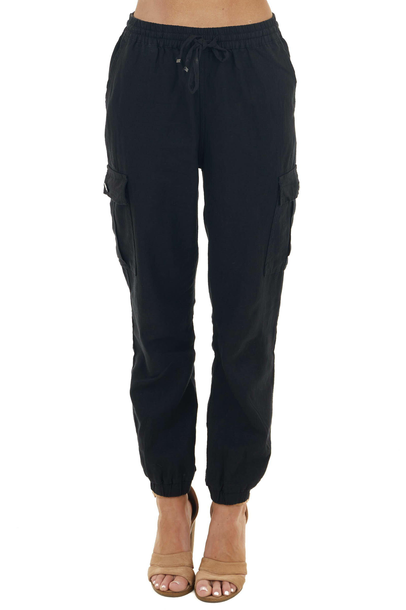 Black Lightweight Jogger Pants with Functional Pockets