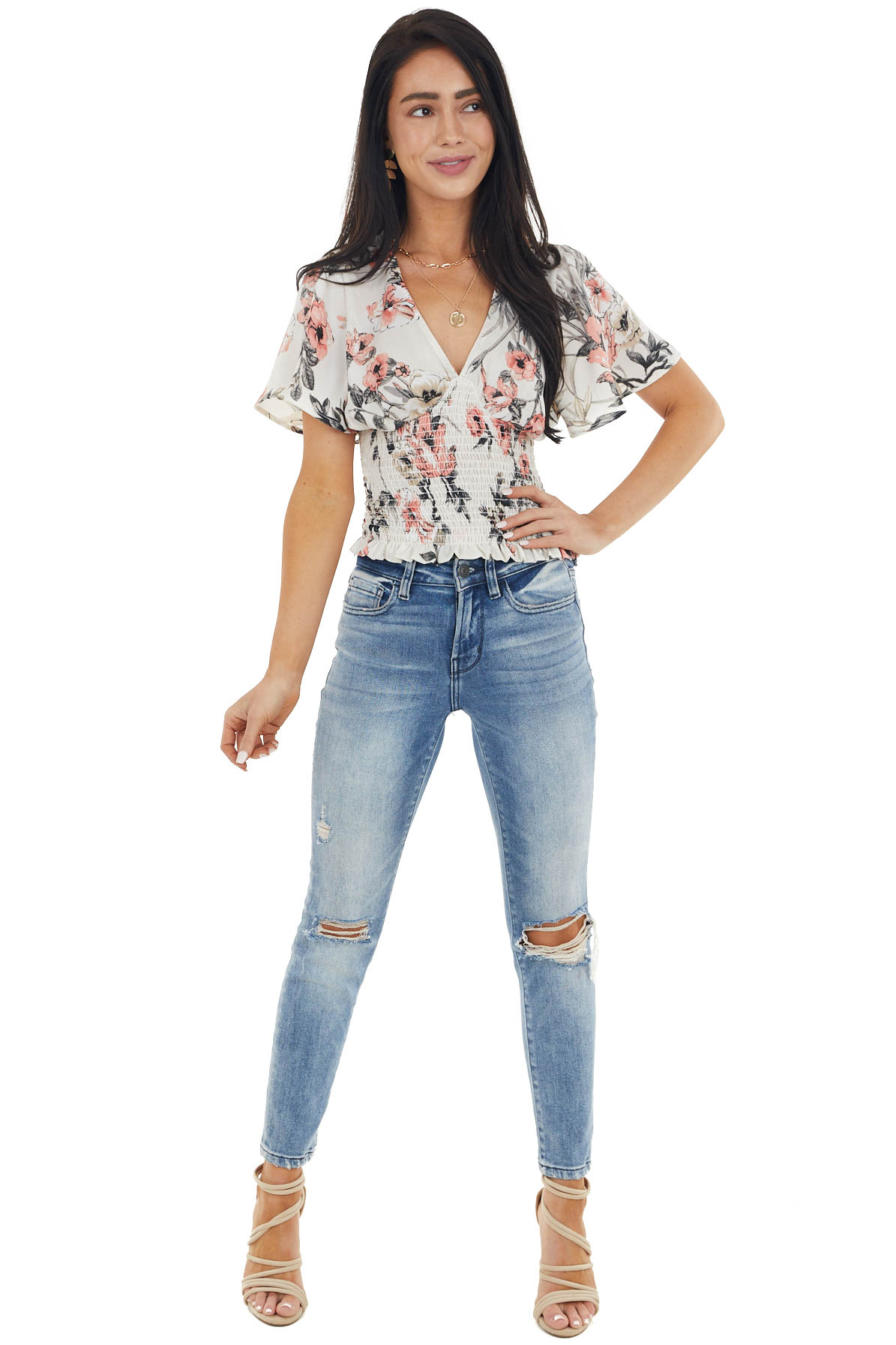 Cream and Punch Silky Floral Print Top with Smocked Detail