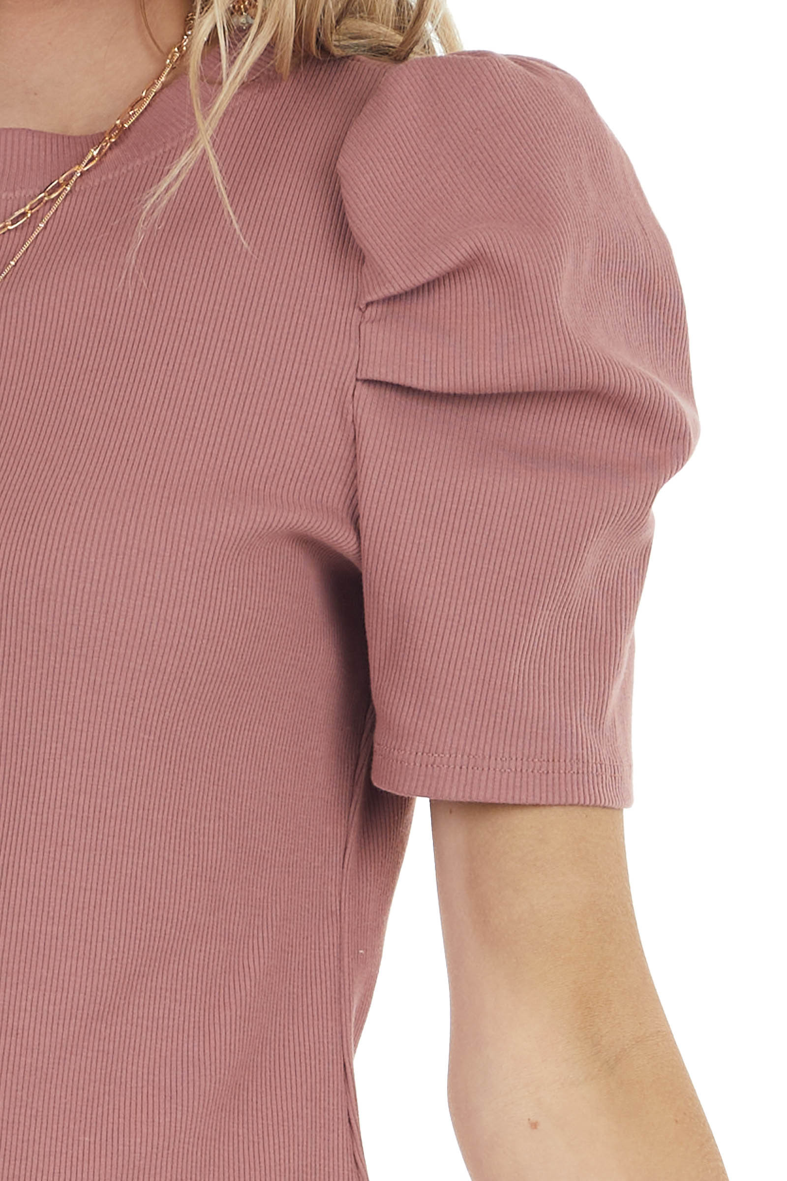 Dusty Rose Crew Neck Ribbed Knit Top with Short Puff Sleeves