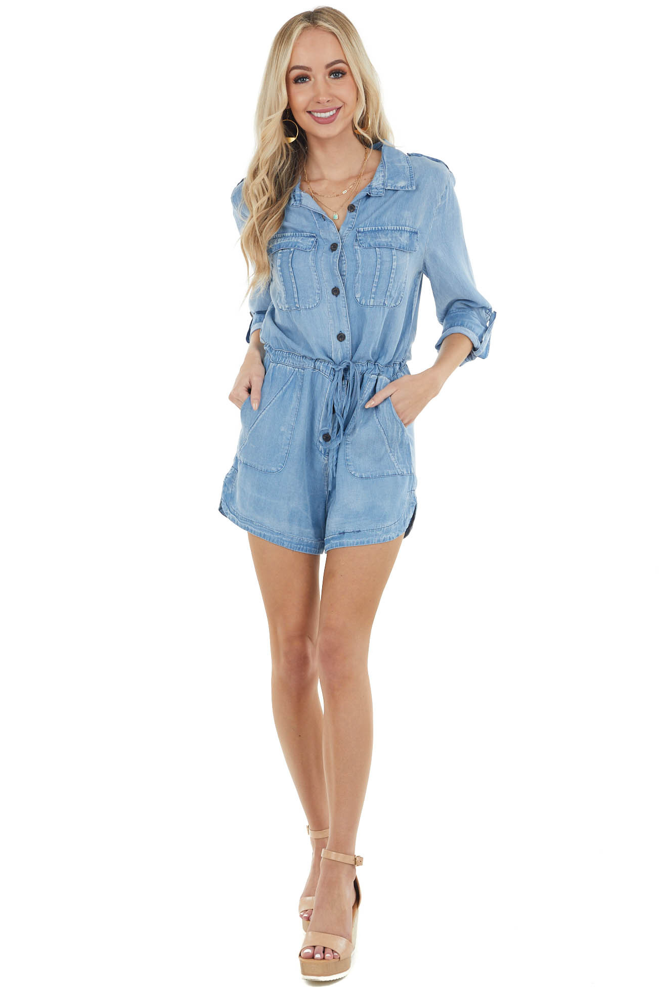 Light Wash Buttoned Front Romper with Tie Waist Detail