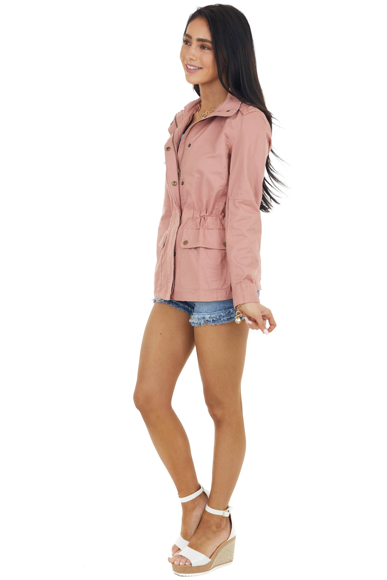 Dusty Rose Anorak Jacket with Pockets and Drawstring Waist