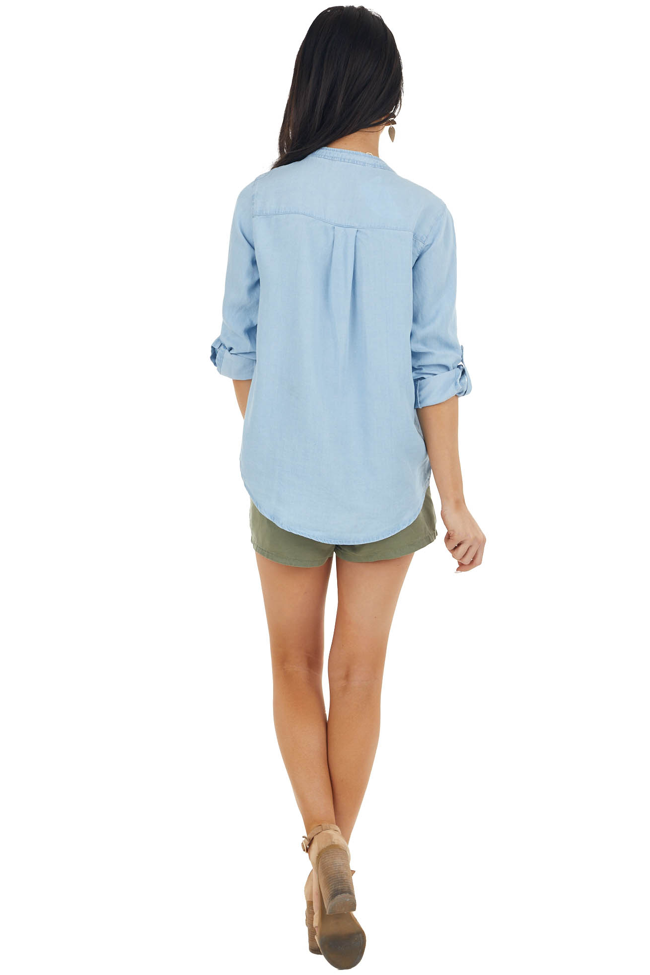 Light Wash Chambray Long Sleeve with Button Down Front