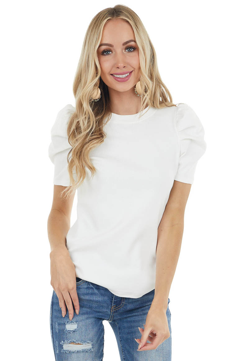 Ivory Crew Neck Ribbed Knit Top with Short Puff Sleeves