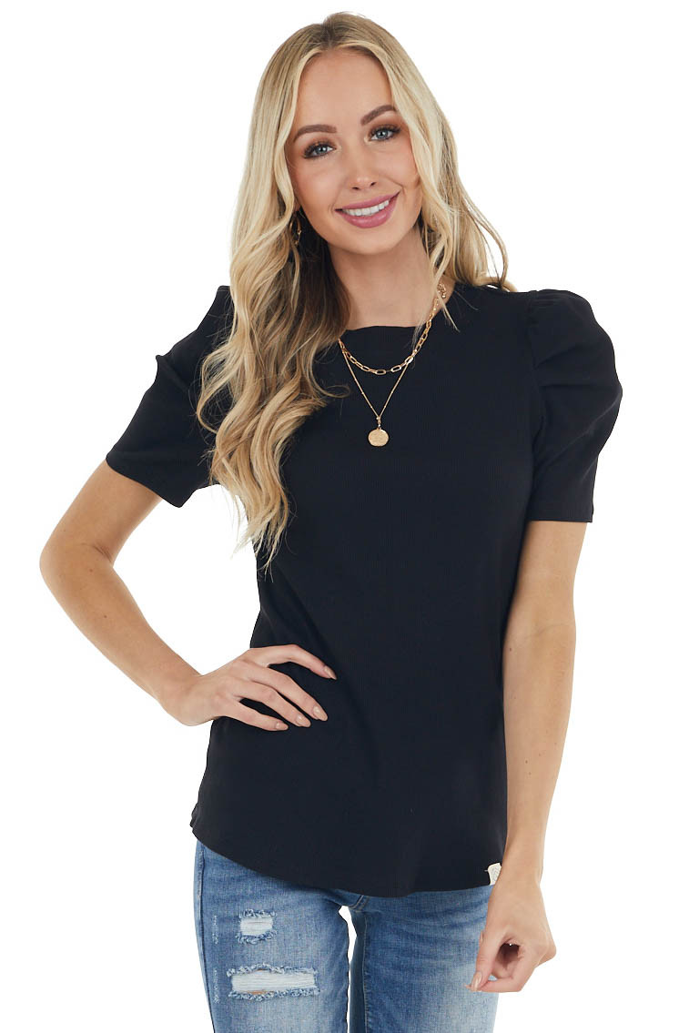 Black Crew Neck Ribbed Knit Top with Short Puff Sleeves