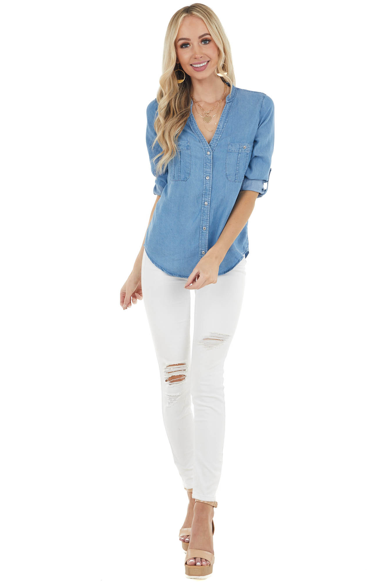 Dark Wash Chambray Long Sleeve with Button Down Front