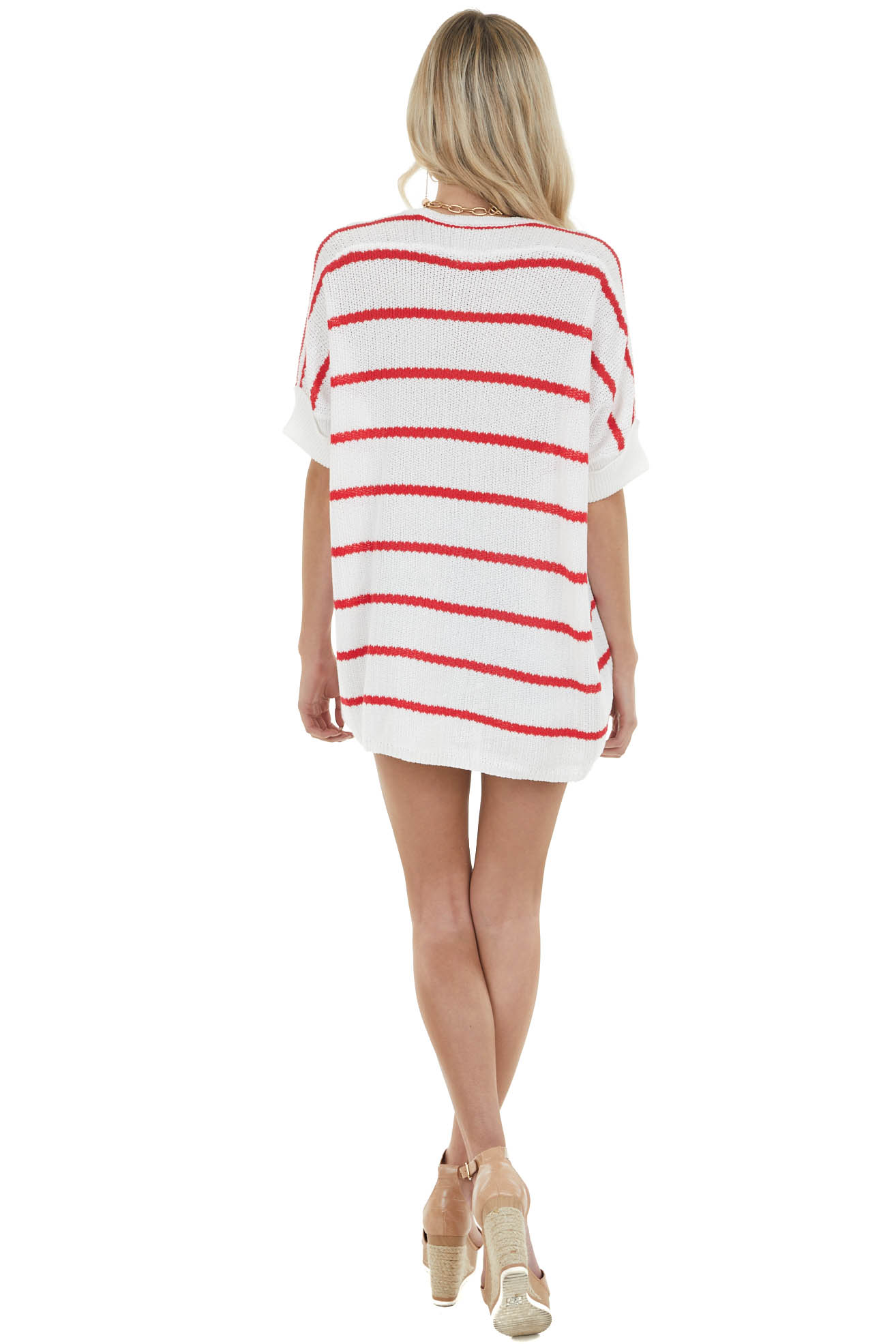 Candy Apple Red Striped Short Sleeve Lightweight Sweater
