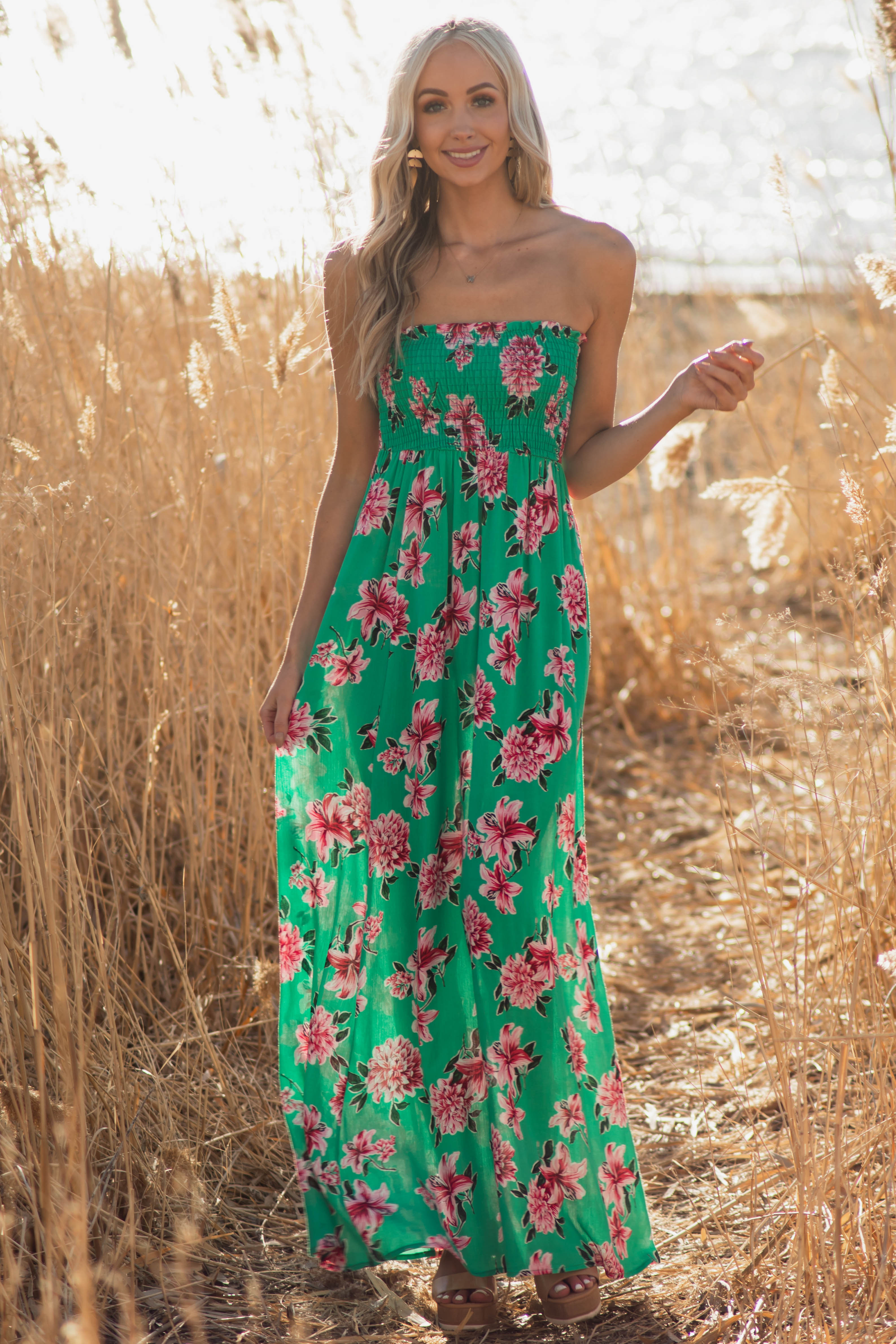 Jungle Green Floral Print Maxi Dress with Smocked Bodice