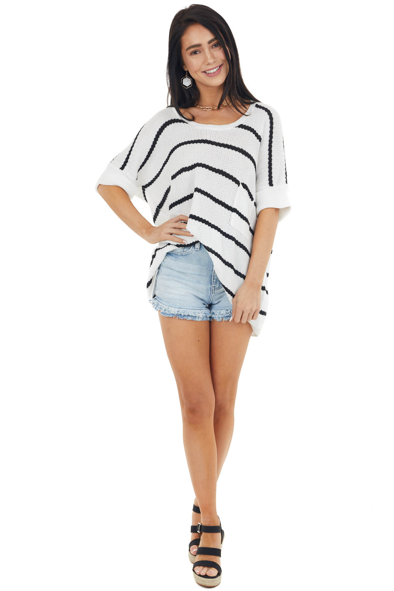 Pearl and Black Striped Short Sleeve Lightweight Sweater