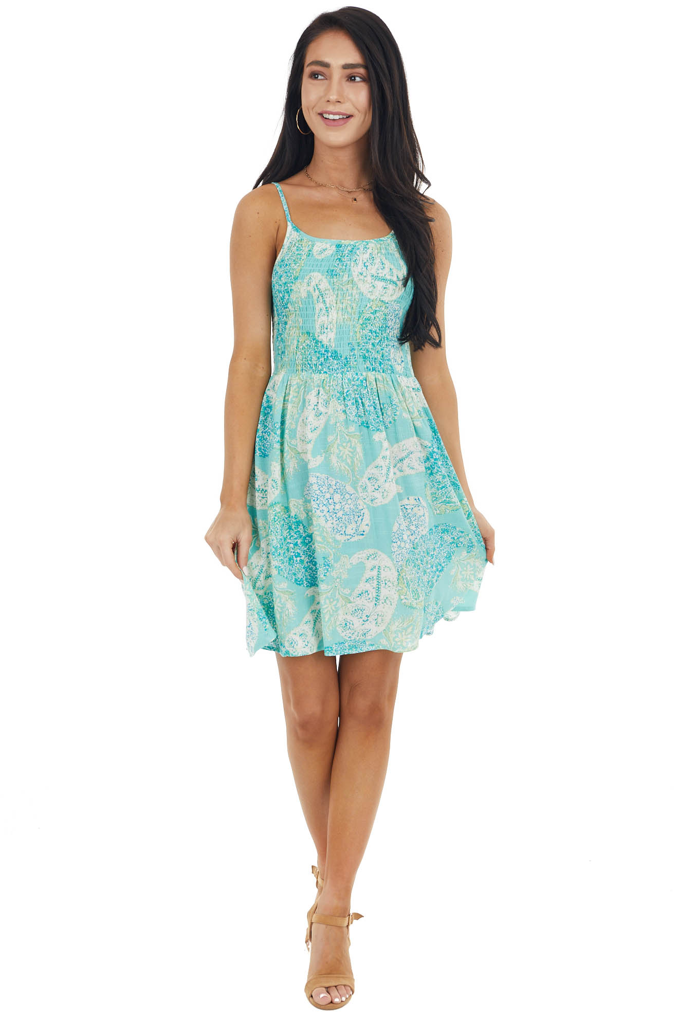 Vintage Aqua Abstract Paisley Print Sleeveless Mini Dress